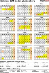Vorlage 4: Kalender Baden-Württemberg 2016 als Excel-Vorlage (Hochformat)