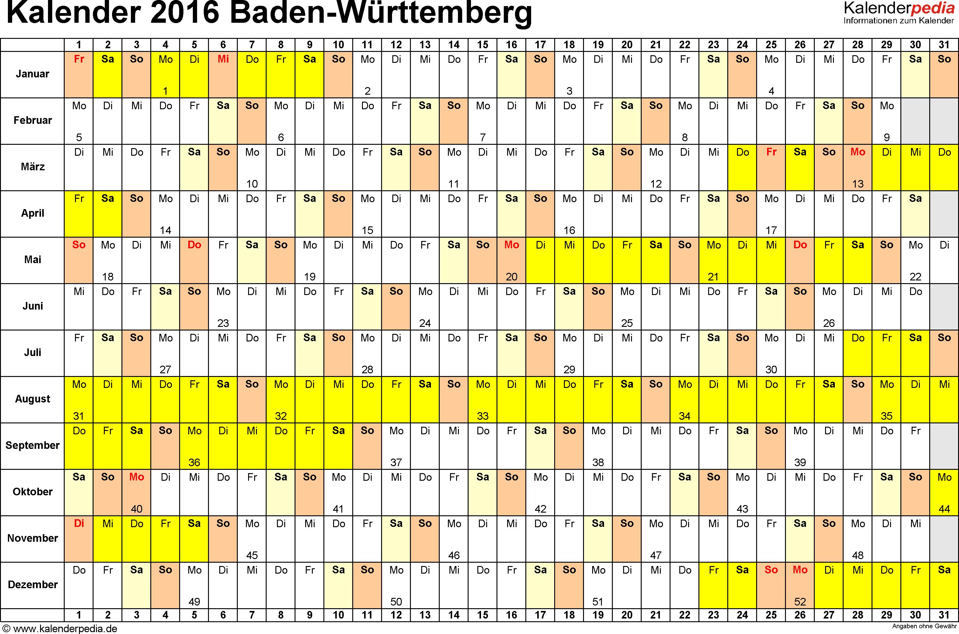 Vorlage 3: Kalender Baden-Württemberg 2016 im Querformat, Tage nebeneinander