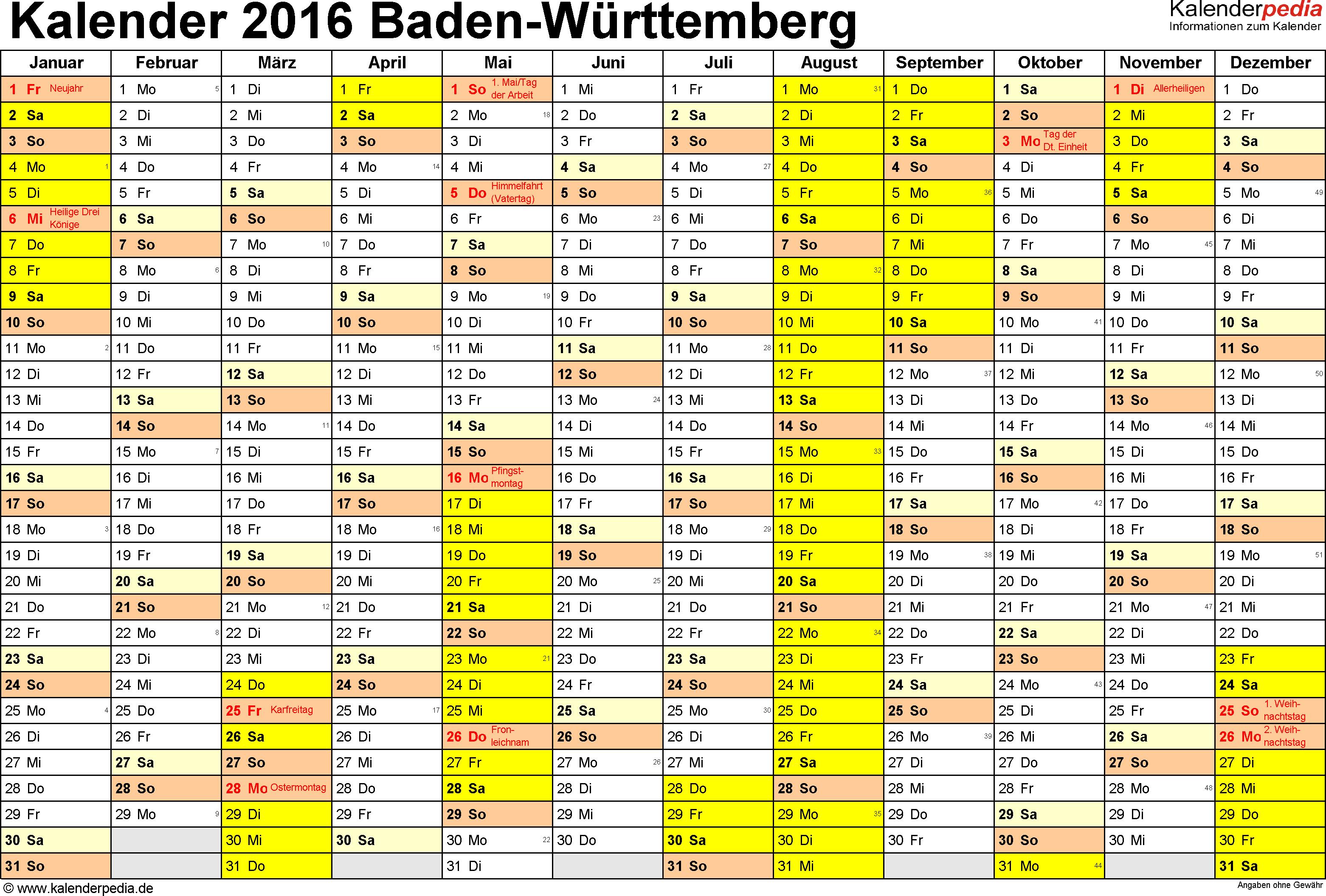 Vorlage 1: Kalender 2016 für Baden-Württemberg als Excel-Vorlagen (Querformat, 1 Seite)