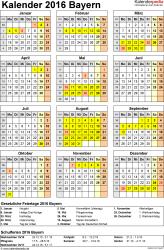 Vorlage 4: Kalender Bayern 2016 als Excel-Vorlage (Hochformat)