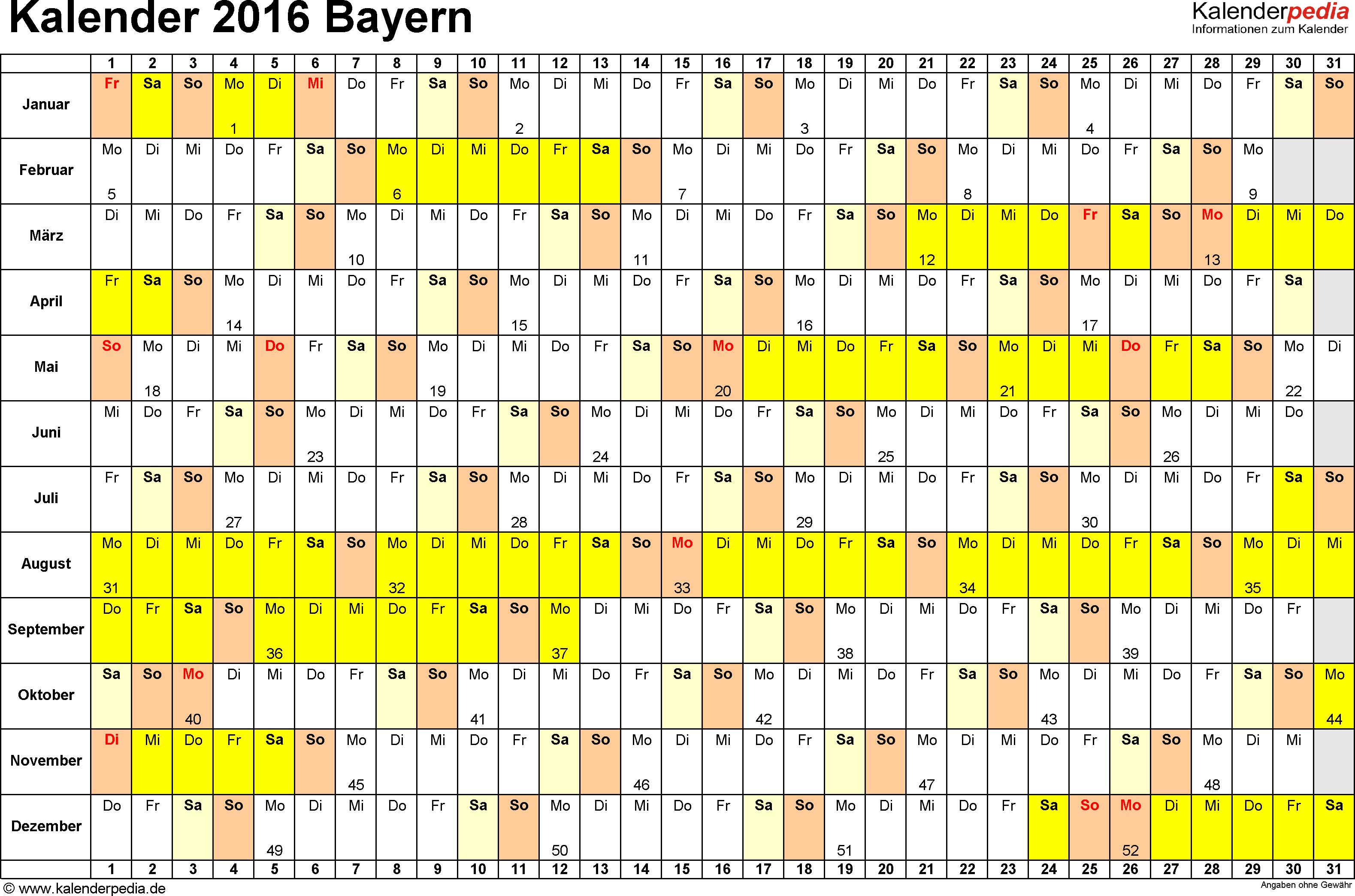 Vorlage 3: Kalender Bayern 2016 im Querformat, Tage nebeneinander
