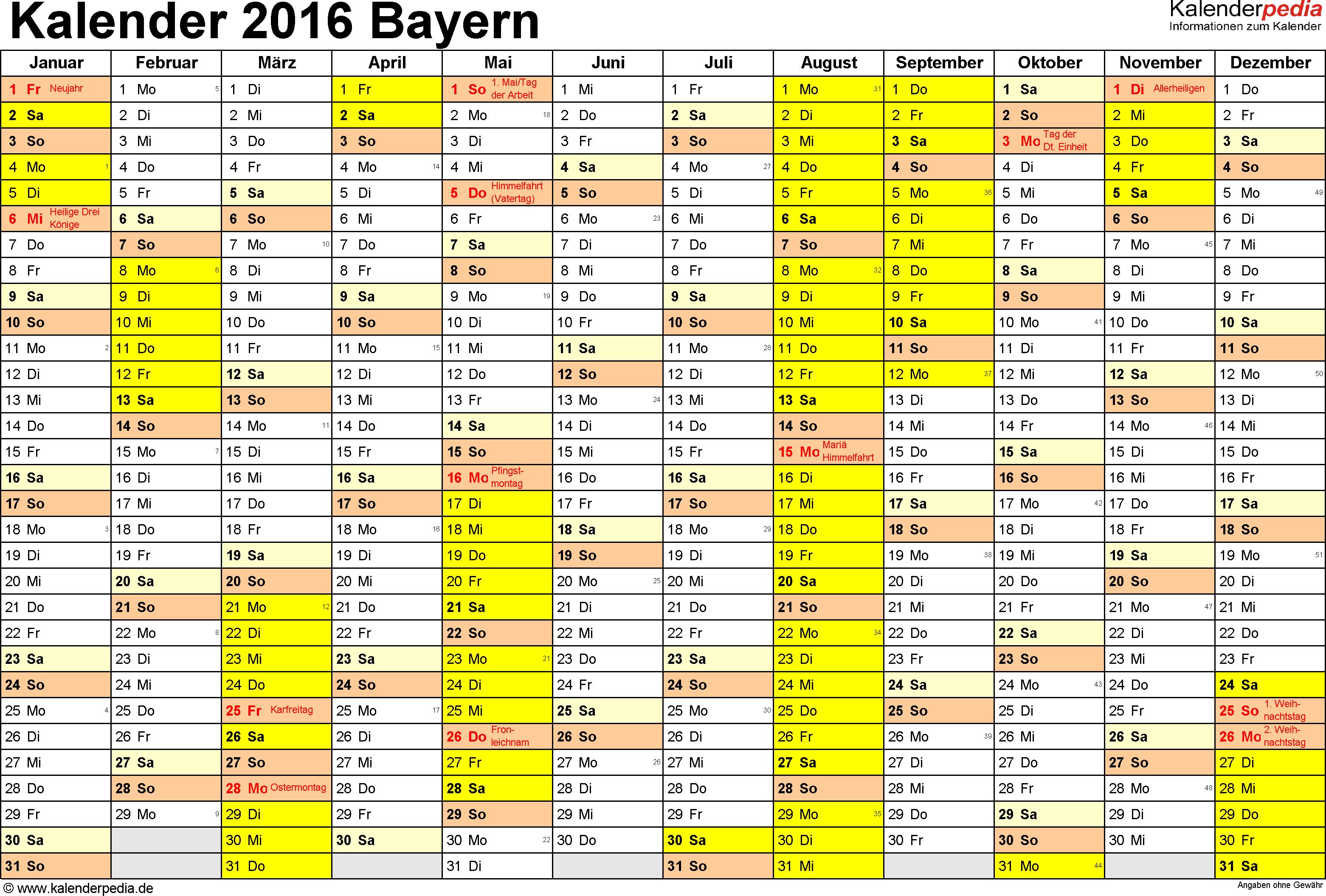 Vorlage 1: Kalender 2016 für Bayern als Excel-Vorlage (Querformat, 1 Seite)