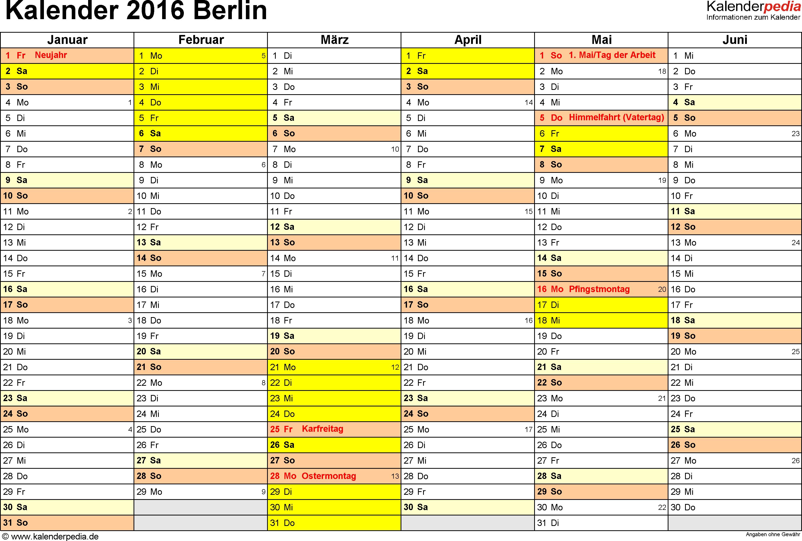 Vorlage 2: Kalender 2016 für Berlin als PDF-Vorlage (Querformat, 2 Seiten)