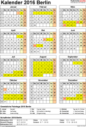 Vorlage 4: Kalender Berlin 2016 als Excel-Vorlage (Hochformat)