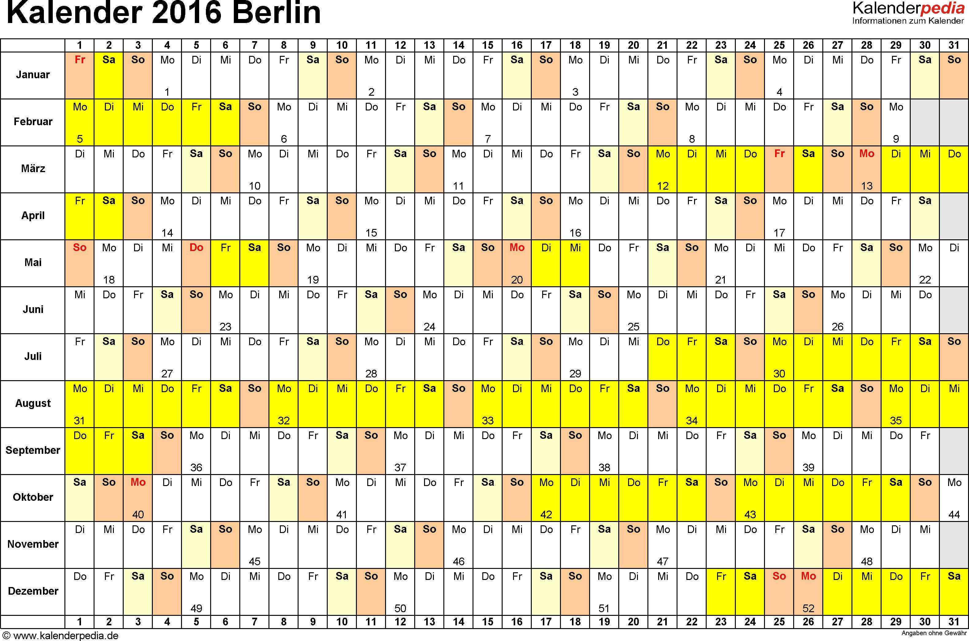 Vorlage 3: Kalender Berlin 2016 im Querformat, Tage nebeneinander