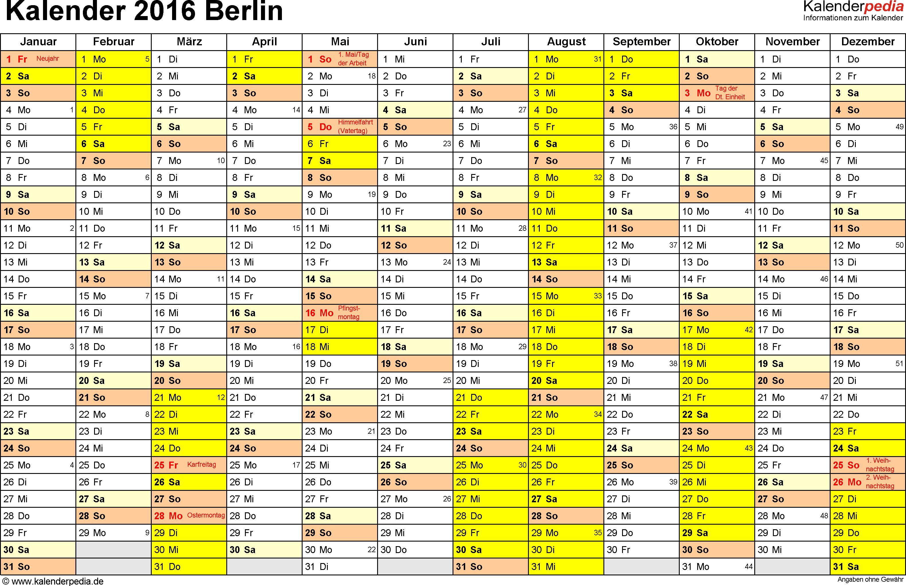 Vorlage 1: Kalender 2016 für Berlin als PDF-Vorlage (Querformat, 1 Seite)