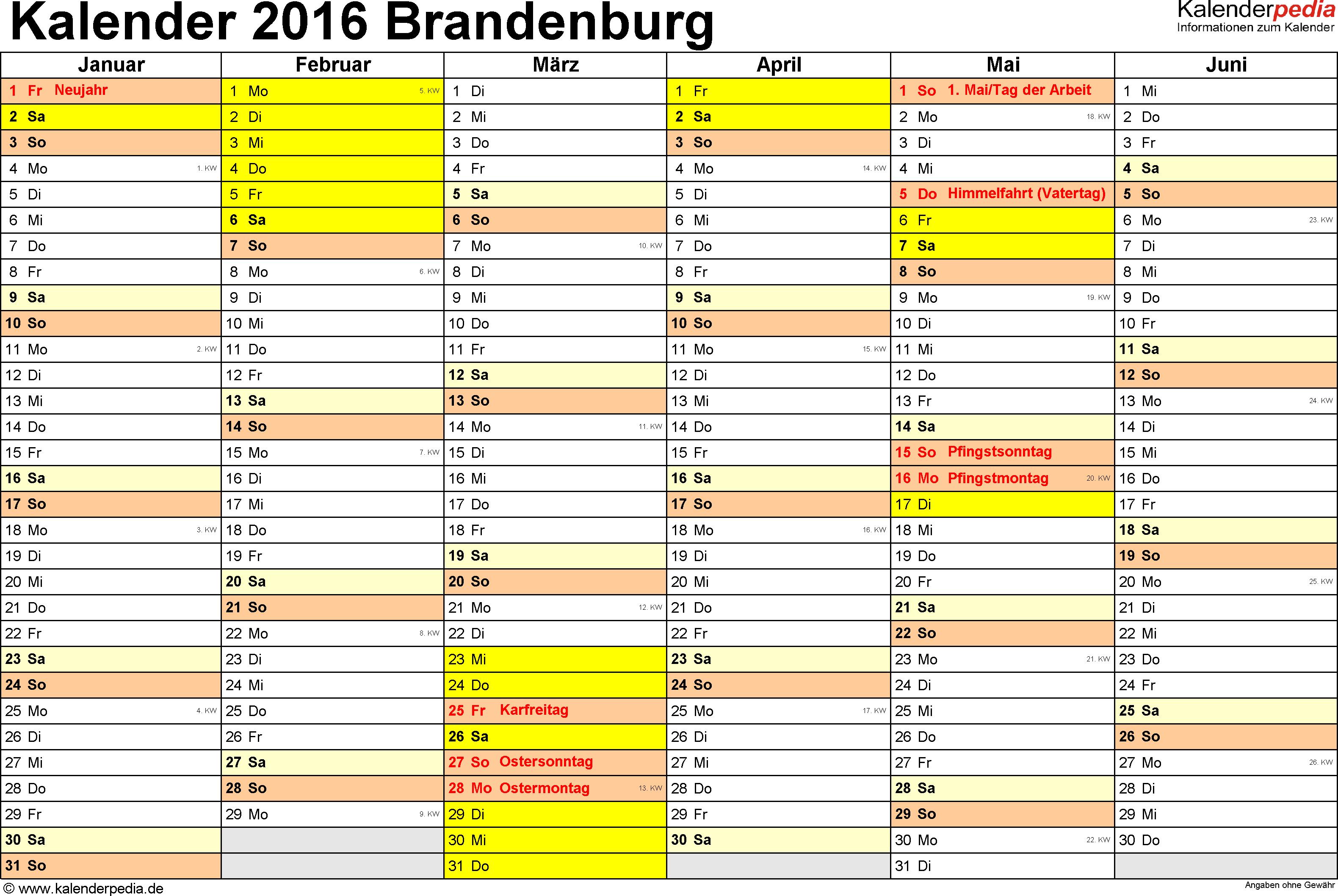 Vorlage 2: Kalender 2016 für Brandenburg als Word-Vorlage (Querformat, 2 Seiten)