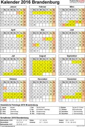 Vorlage 4: Kalender Brandenburg 2016 als Excel-Vorlage (Hochformat)