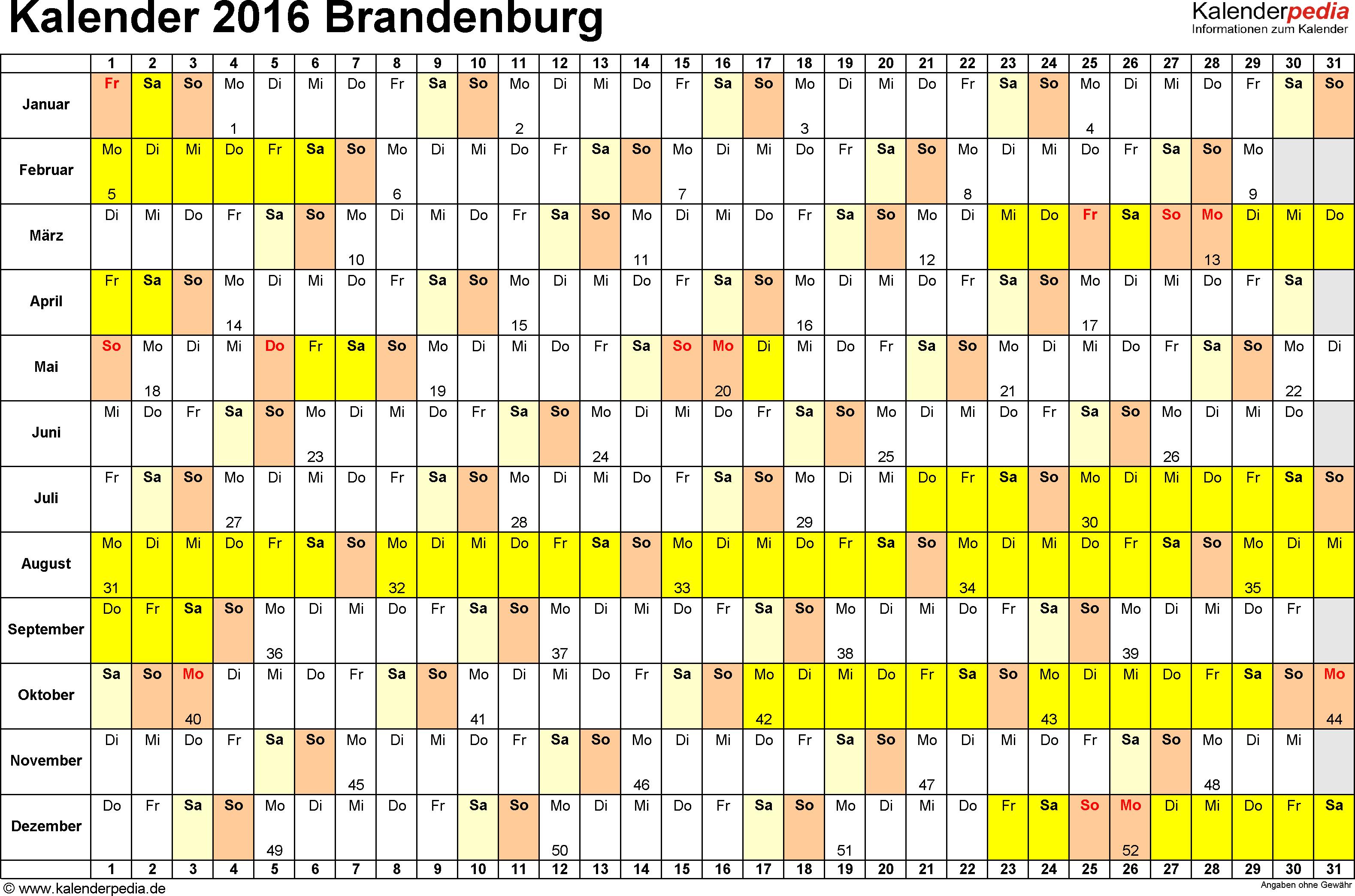 Vorlage 3: Kalender Brandenburg 2016 im Querformat, Tage nebeneinander