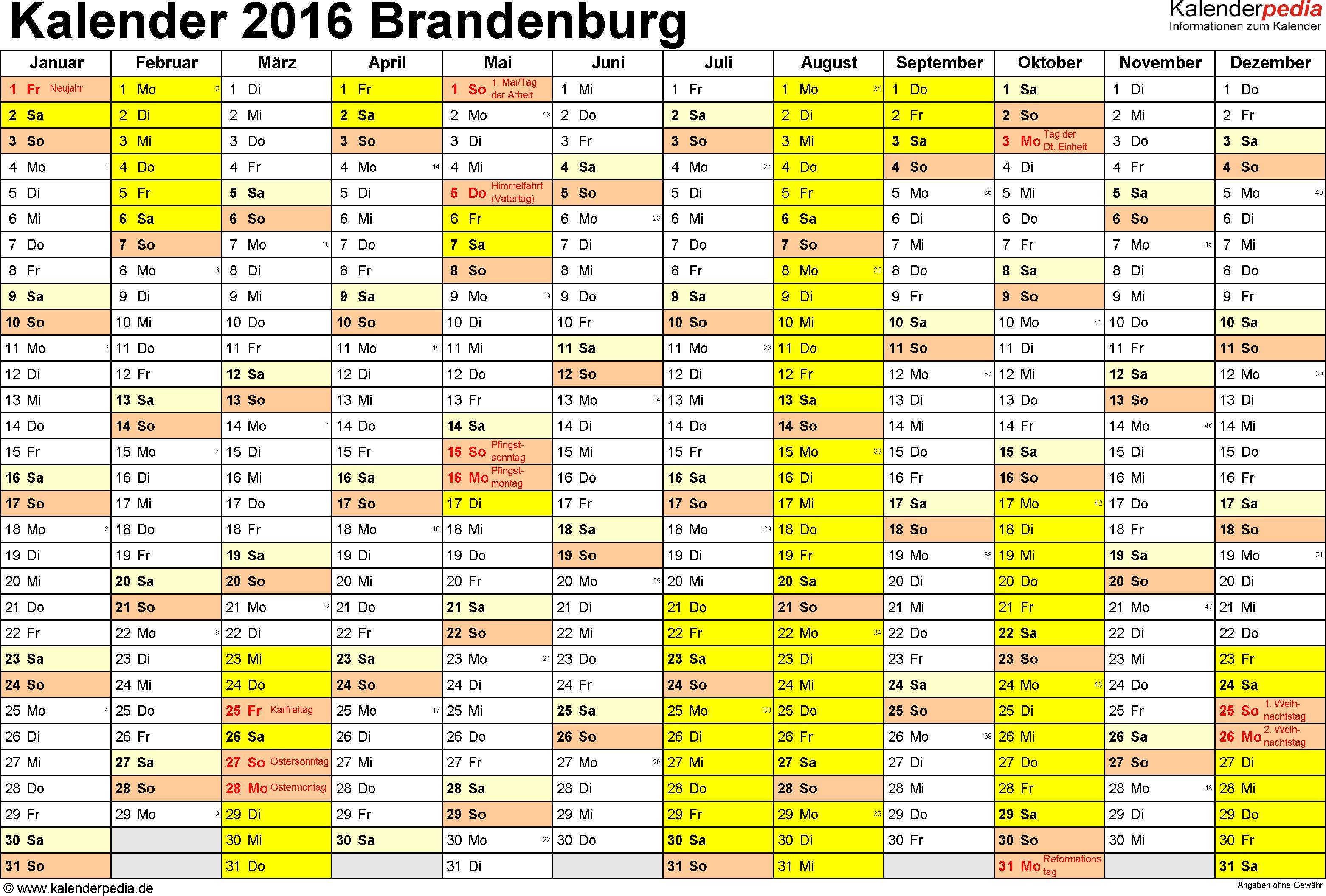 Vorlage 1: Kalender 2016 für Brandenburg als Excel-Vorlagen (Querformat, 1 Seite)