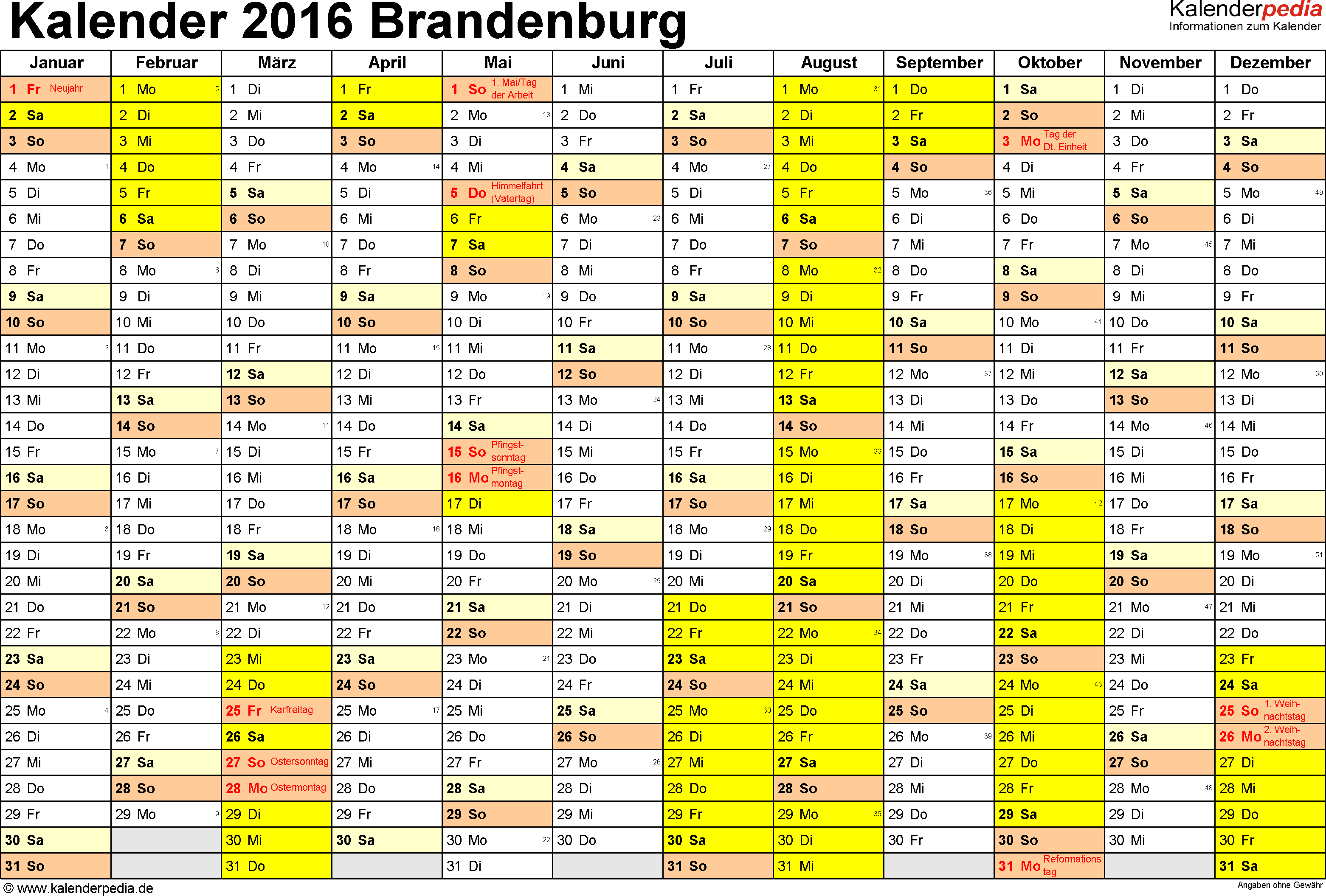 Kalender 2016 Brandenburg