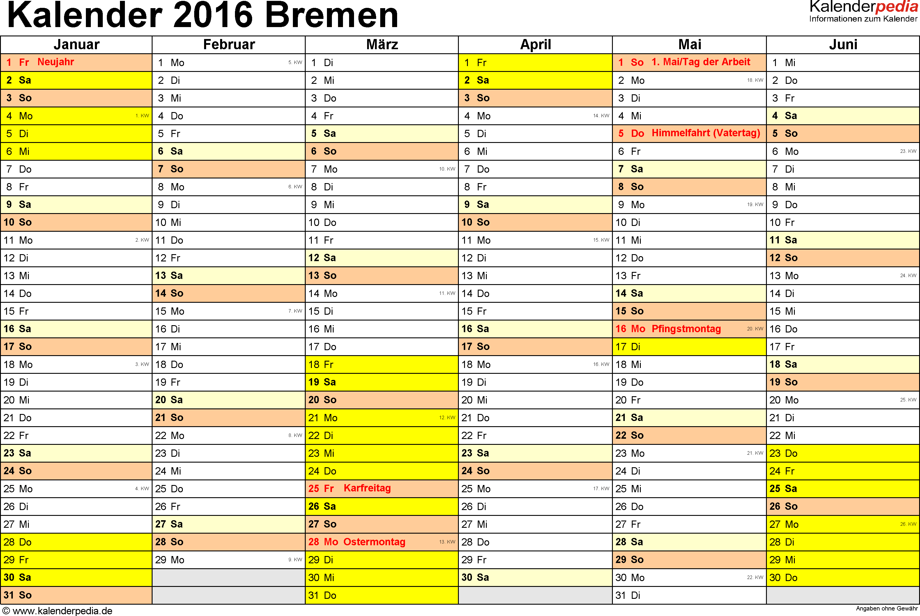 Vorlage 2: Kalender 2016 für Bremen als Excel-Vorlage (Querformat, 2 Seiten)
