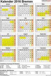 Vorlage 4: Kalender Bremen 2016 als Excel-Vorlage (Hochformat)