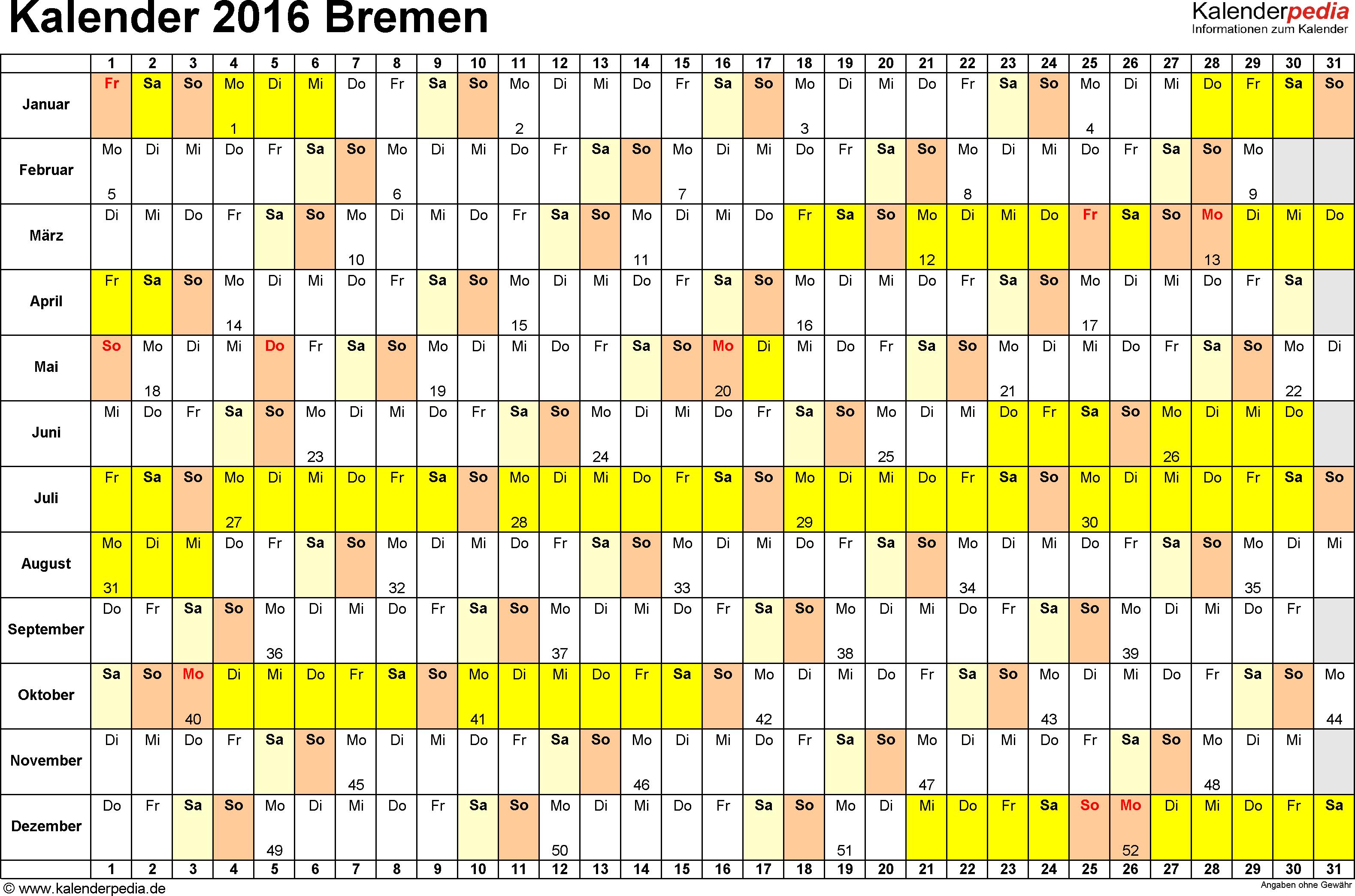 Vorlage 2: Kalender Bremen 2016 im Querformat, Tage nebeneinander