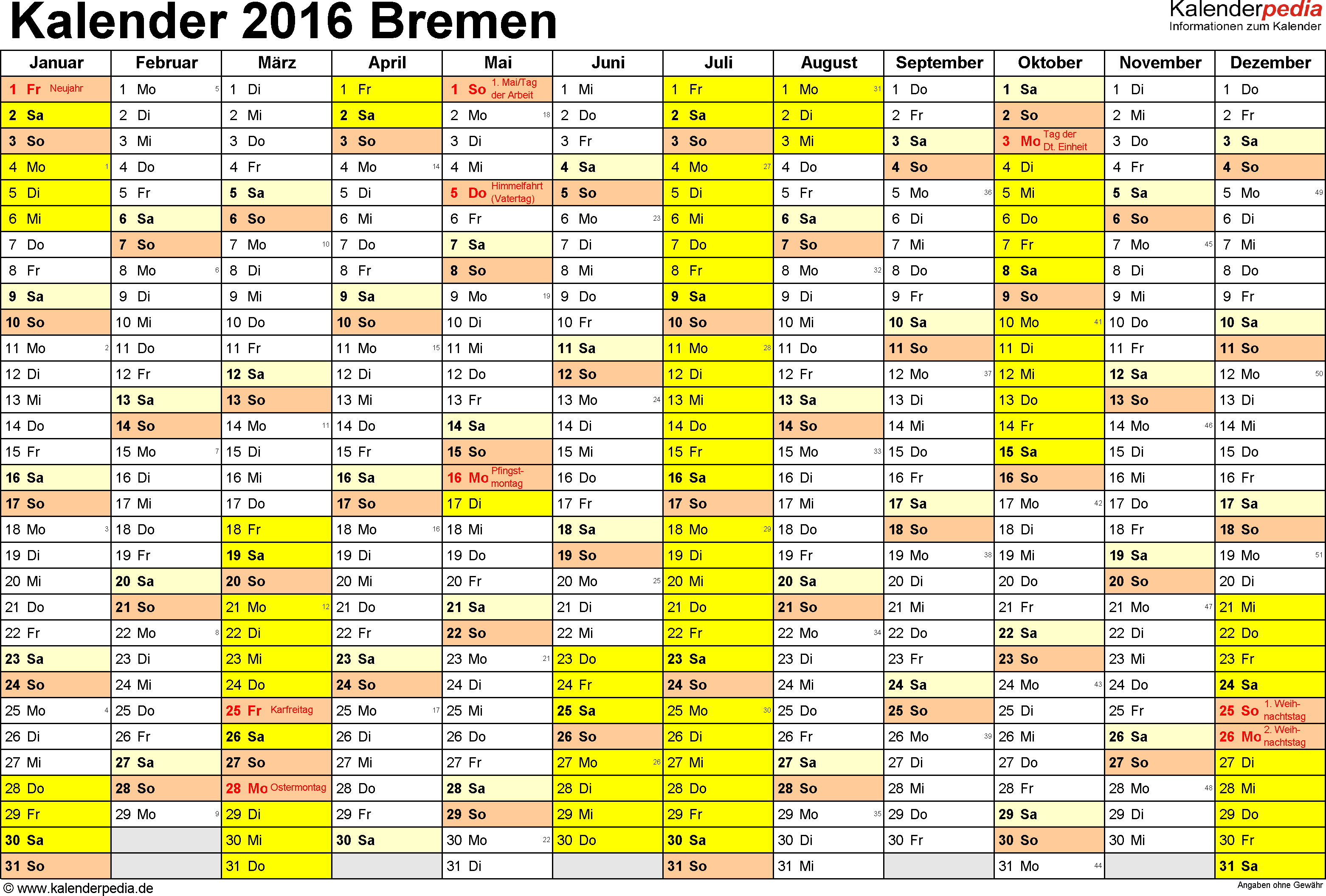 Vorlage 1: Kalender 2016 für Bremen als Word-Vorlagen (Querformat, 1 Seite)