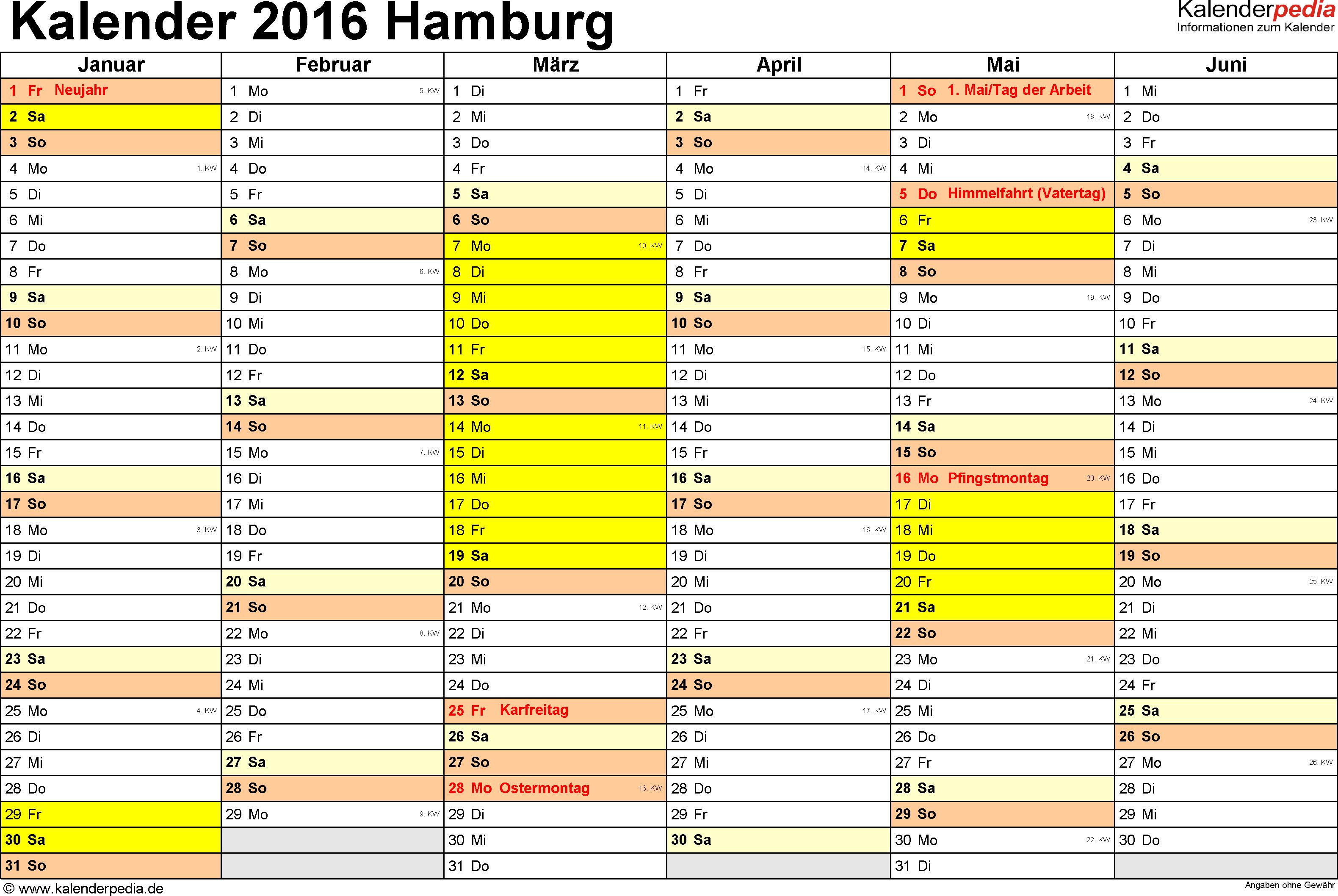 Vorlage 2: Kalender 2016 für Hamburg als Word-Vorlage (Querformat, 2 Seiten)