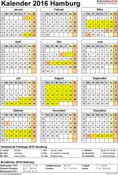 Vorlage 4: Kalender Hamburg 2016 als Word-Vorlage (Hochformat)