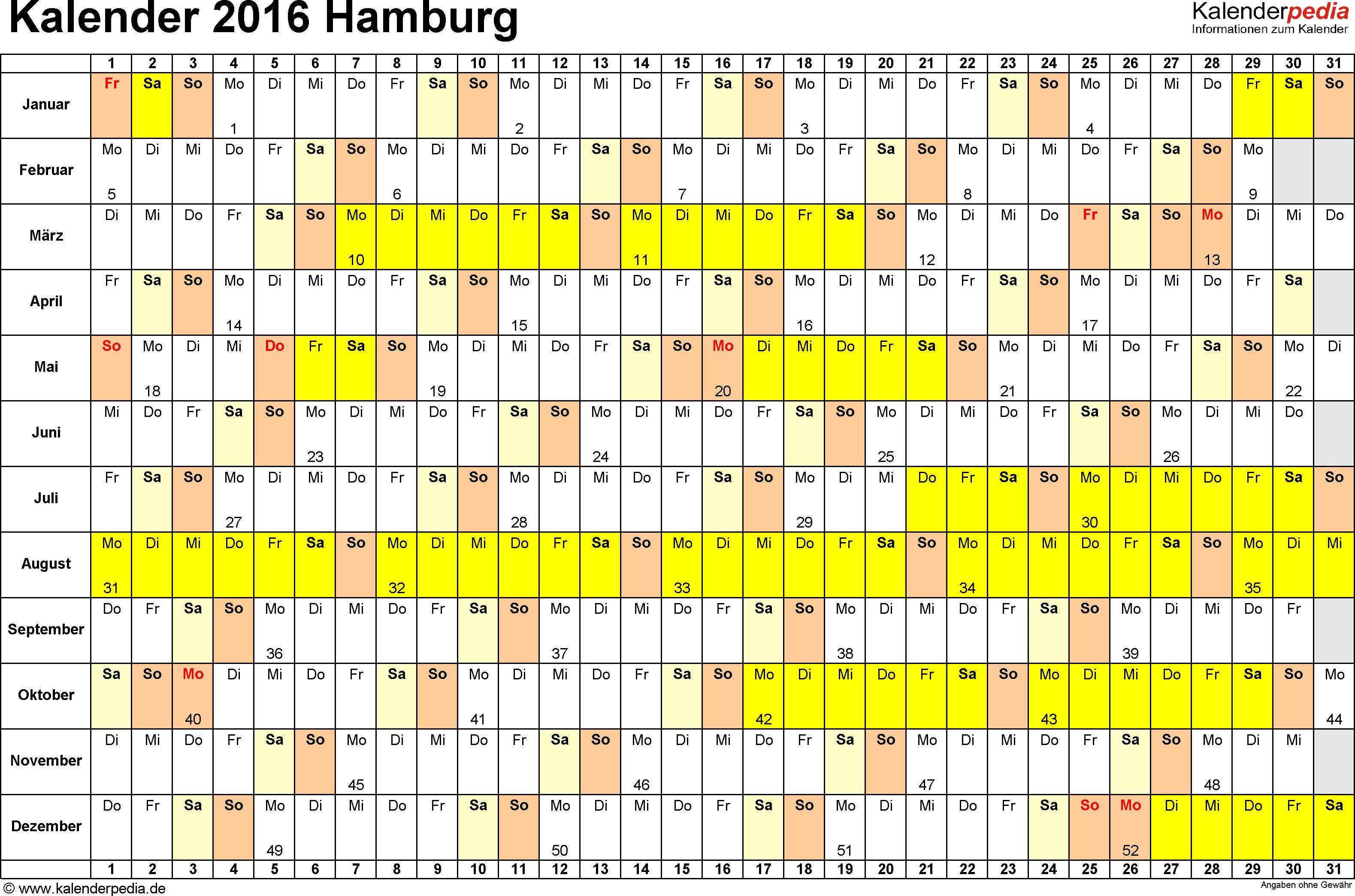 Vorlage 3: Kalender Hamburg 2016 im Querformat, Tage nebeneinander