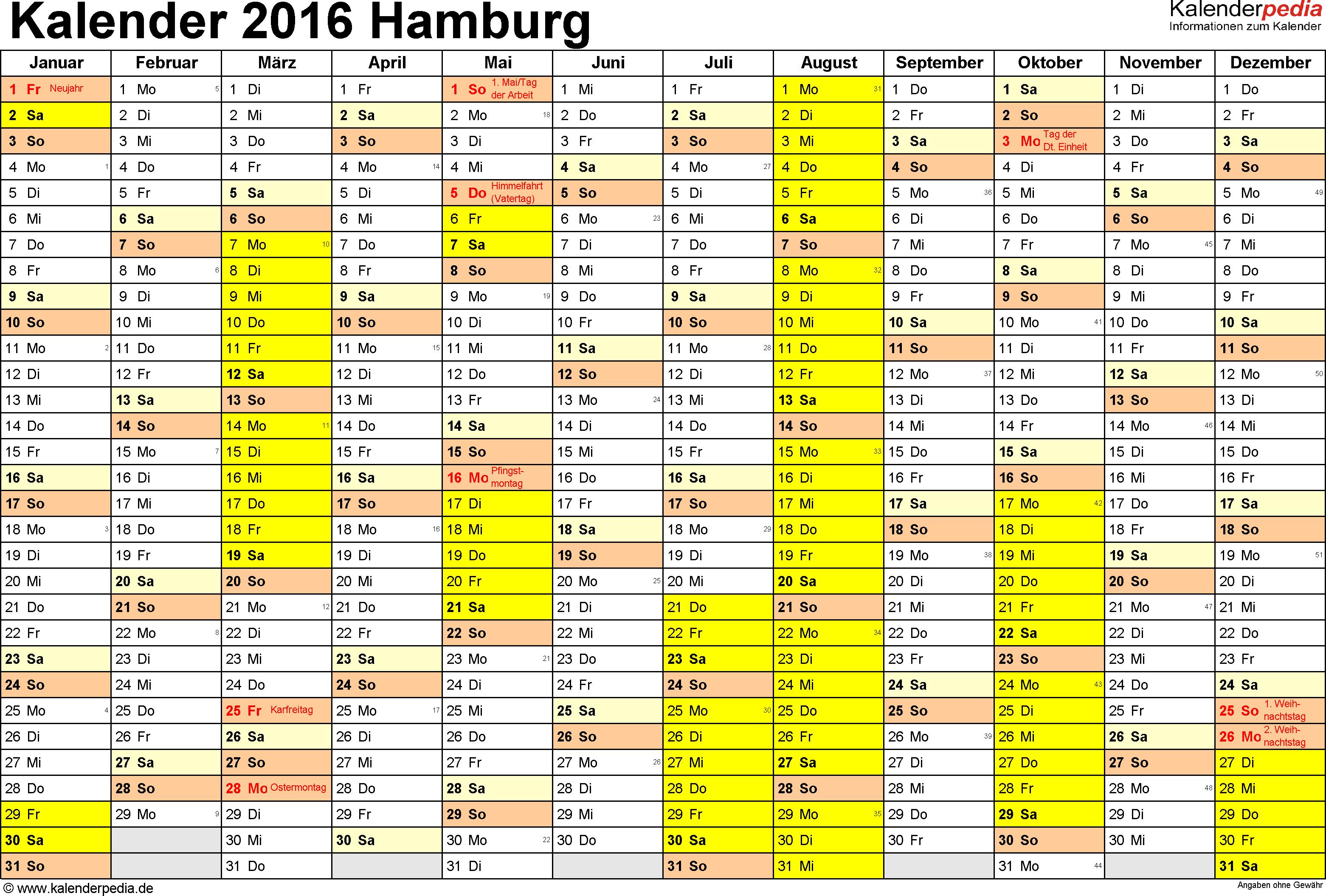Vorlage 1: Kalender 2016 für Hamburg als Word-Vorlage (Querformat, 1 Seite)