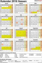 Vorlage 4: Kalender Hessen 2016 als Excel-Vorlage (Hochformat)