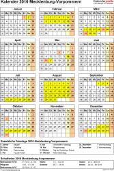 Vorlage 4: Kalender Mecklenburg-Vorpommern 2016 als Excel-Vorlage (Hochformat)