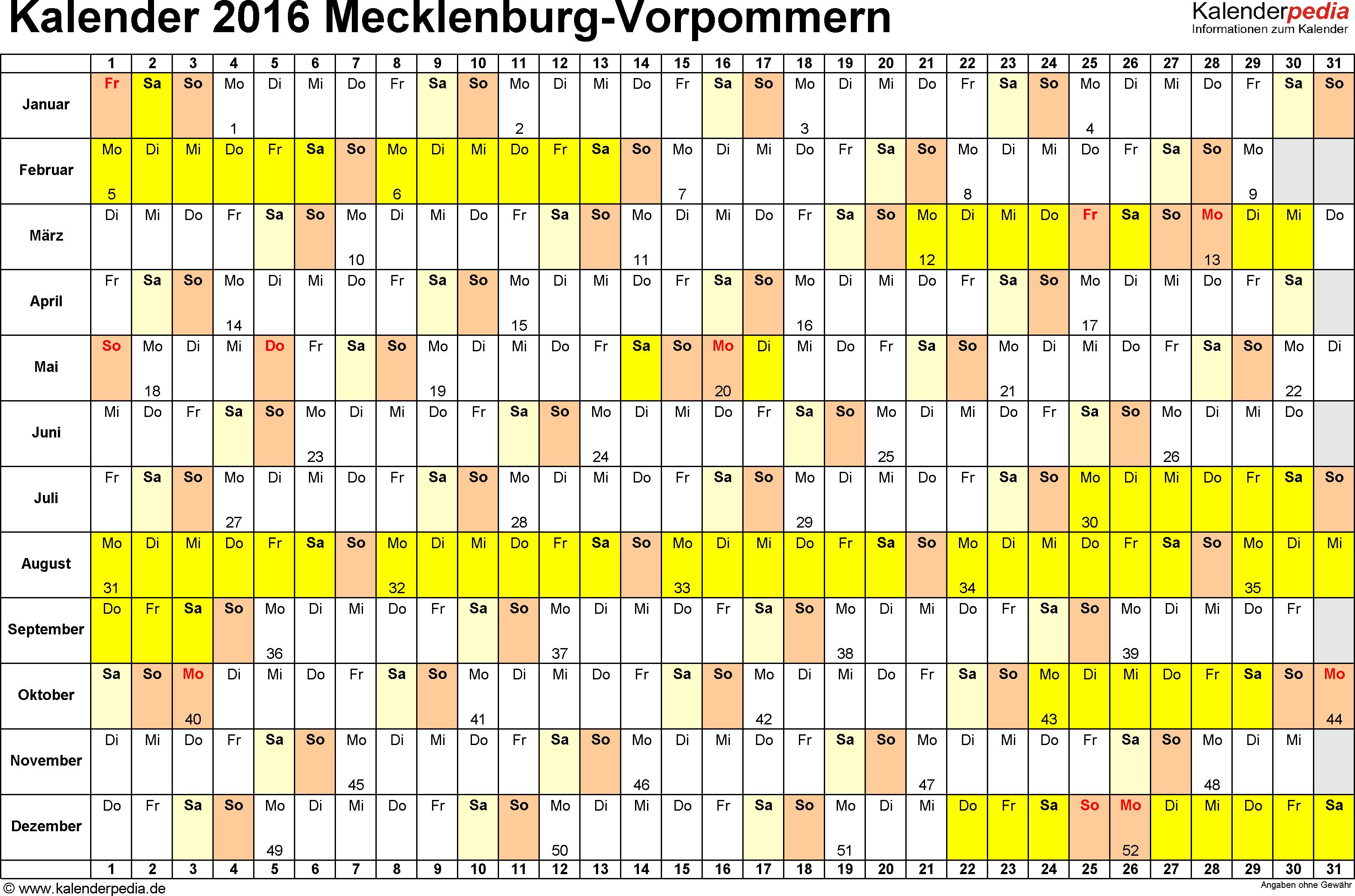 Vorlage 3: Kalender Mecklenburg-Vorpommern 2016 im Querformat, Tage nebeneinander