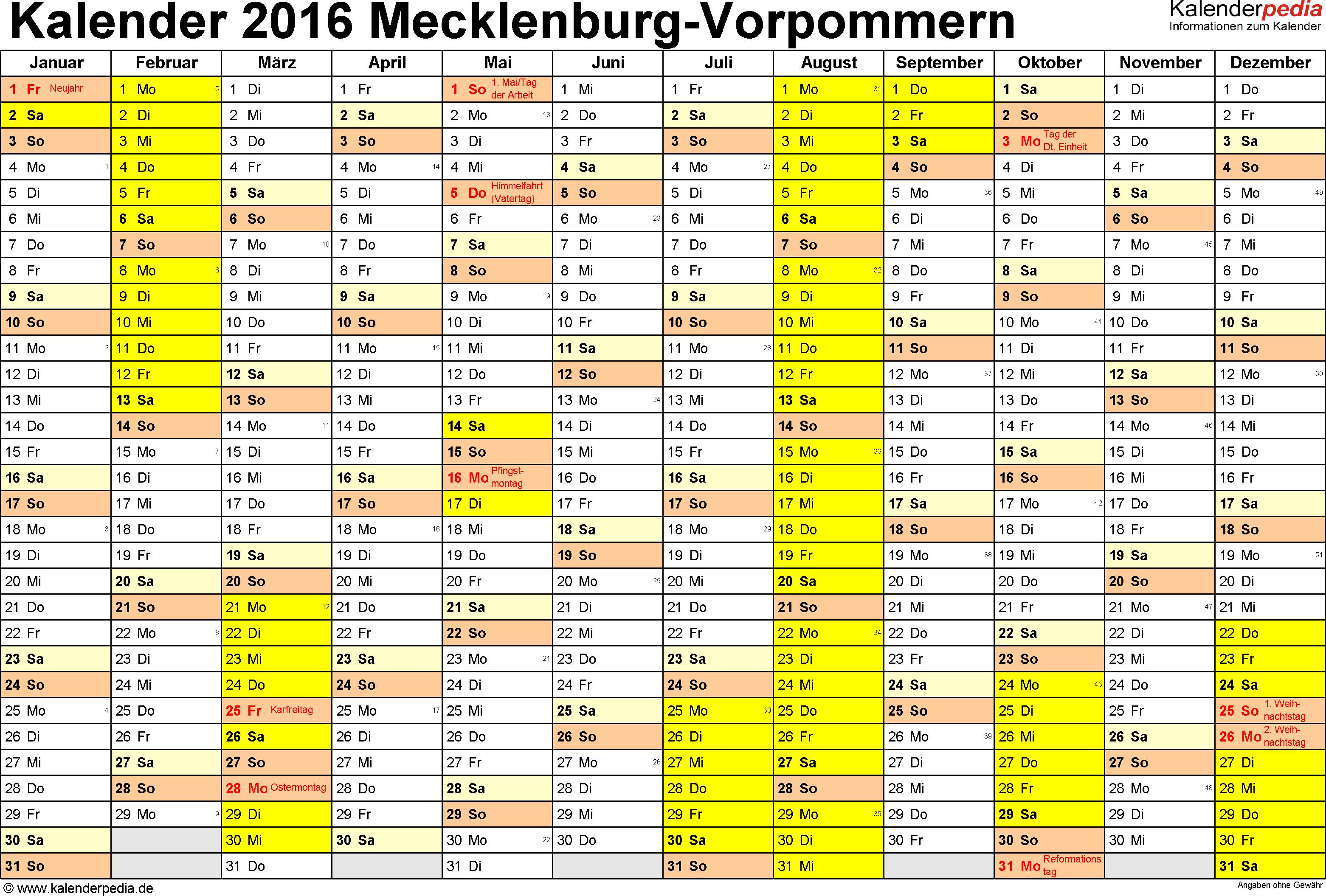 Vorlage 1: Kalender 2016 für Mecklenburg-Vorpommern als Excel-Vorlage (Querformat, 1 Seite)