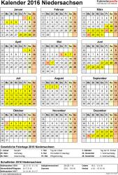 Vorlage 4: Kalender Niedersachsen 2016 als Excel-Vorlage (Hochformat)