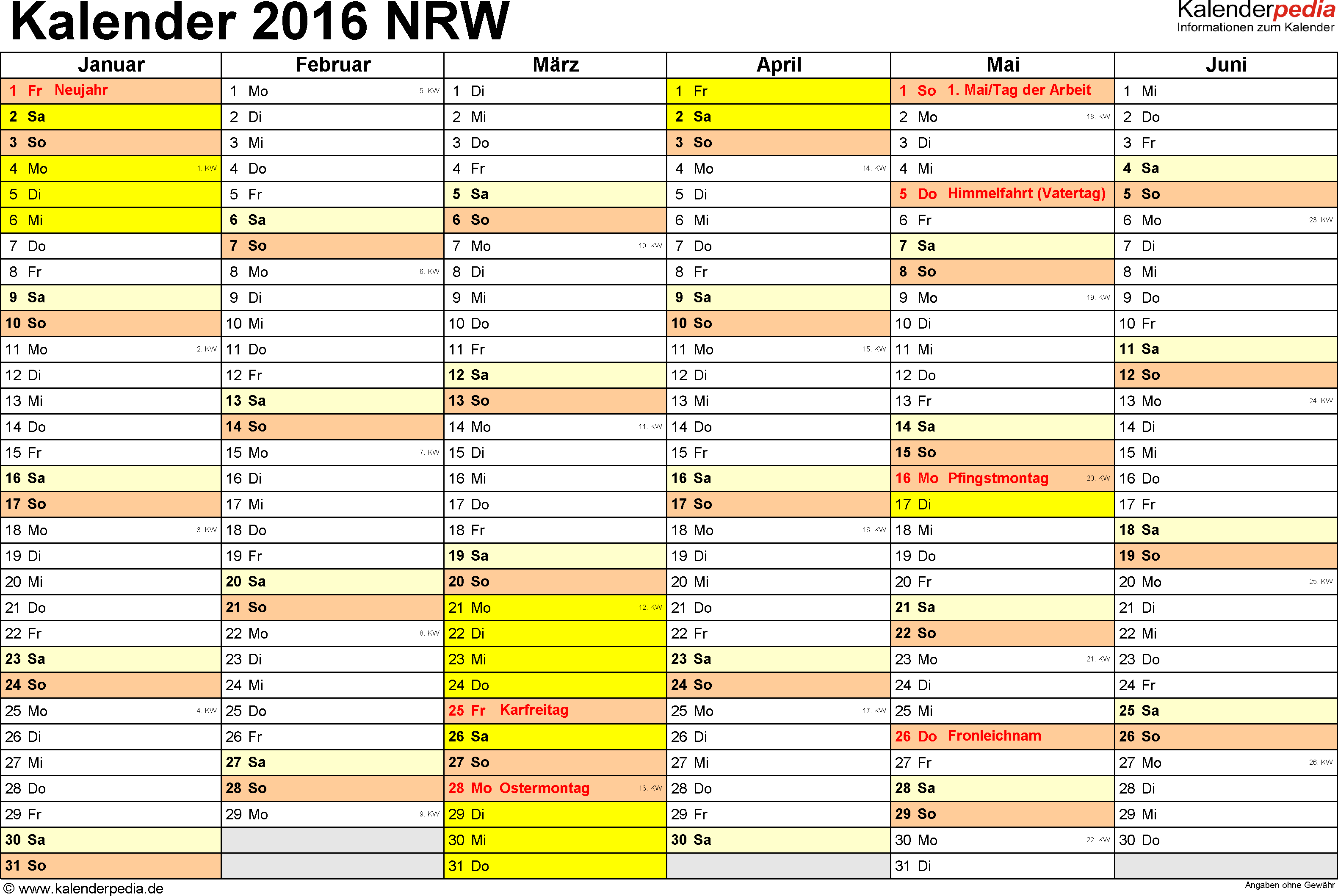 Vorlage 2: Kalender 2016 für Nordrhein-Westfalen (NRW) als Excel-Vorlage (Querformat, 2 Seiten)