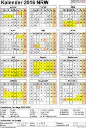 Vorlage 4: Kalender Nordrhein-Westfalen (NRW) 2016 als Excel-Vorlage (Hochformat)