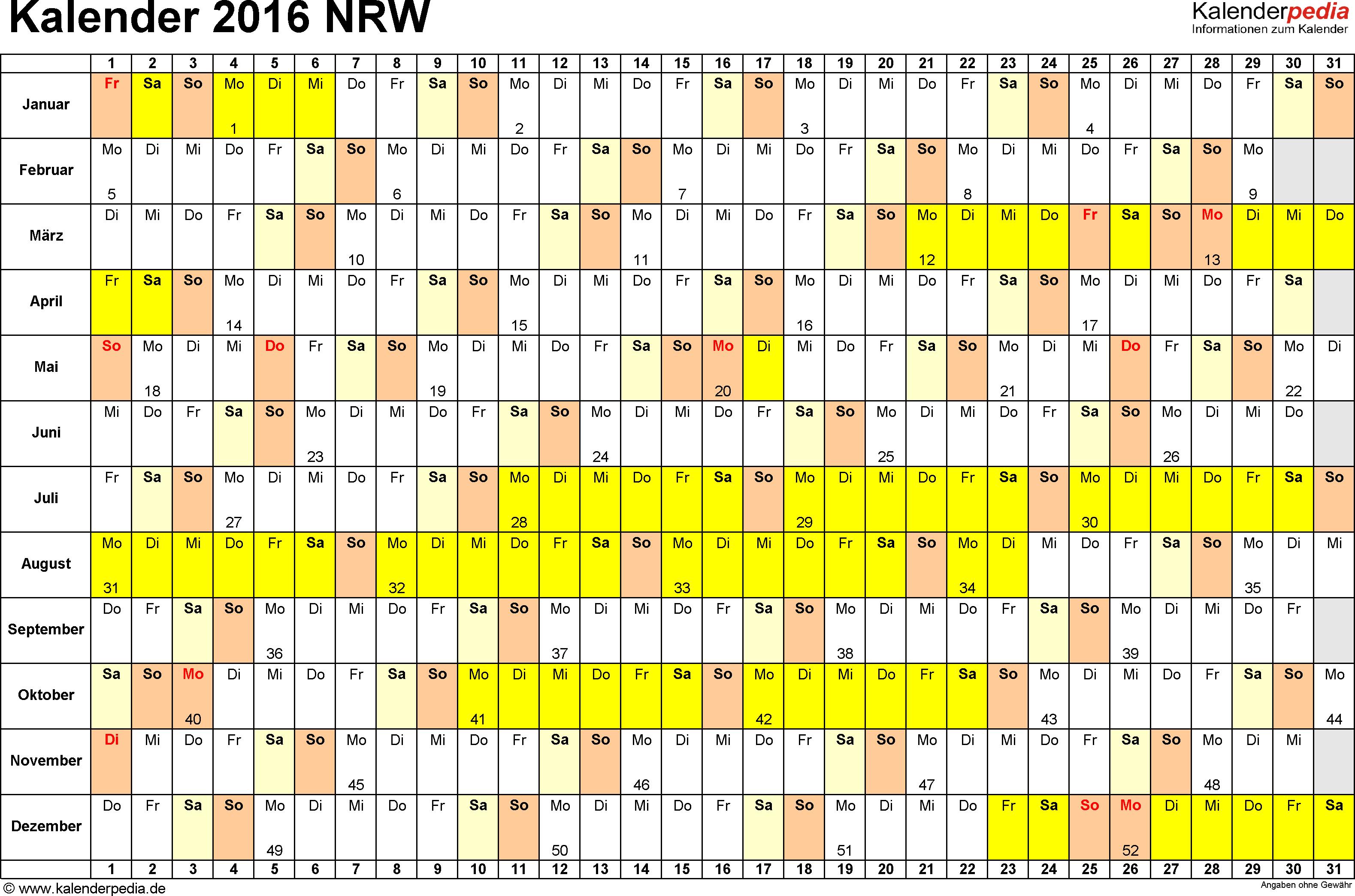 Vorlage 3: Kalender Nordrhein-Westfalen (NRW) 2016 im Querformat, Tage nebeneinander
