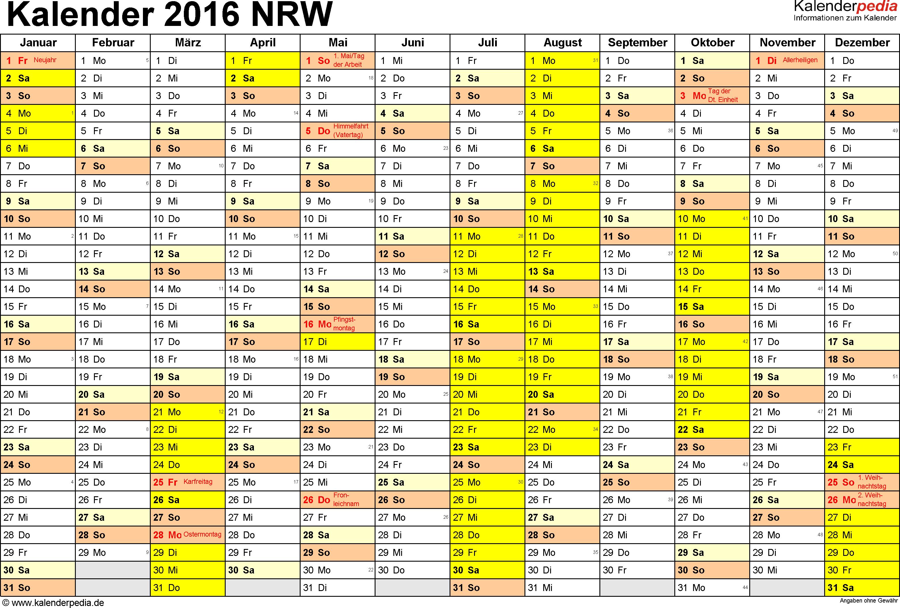 Vorlage 1: Kalender 2016 für Nordrhein-Westfalen (NRW) als Excel-Vorlage (Querformat, 1 Seite)