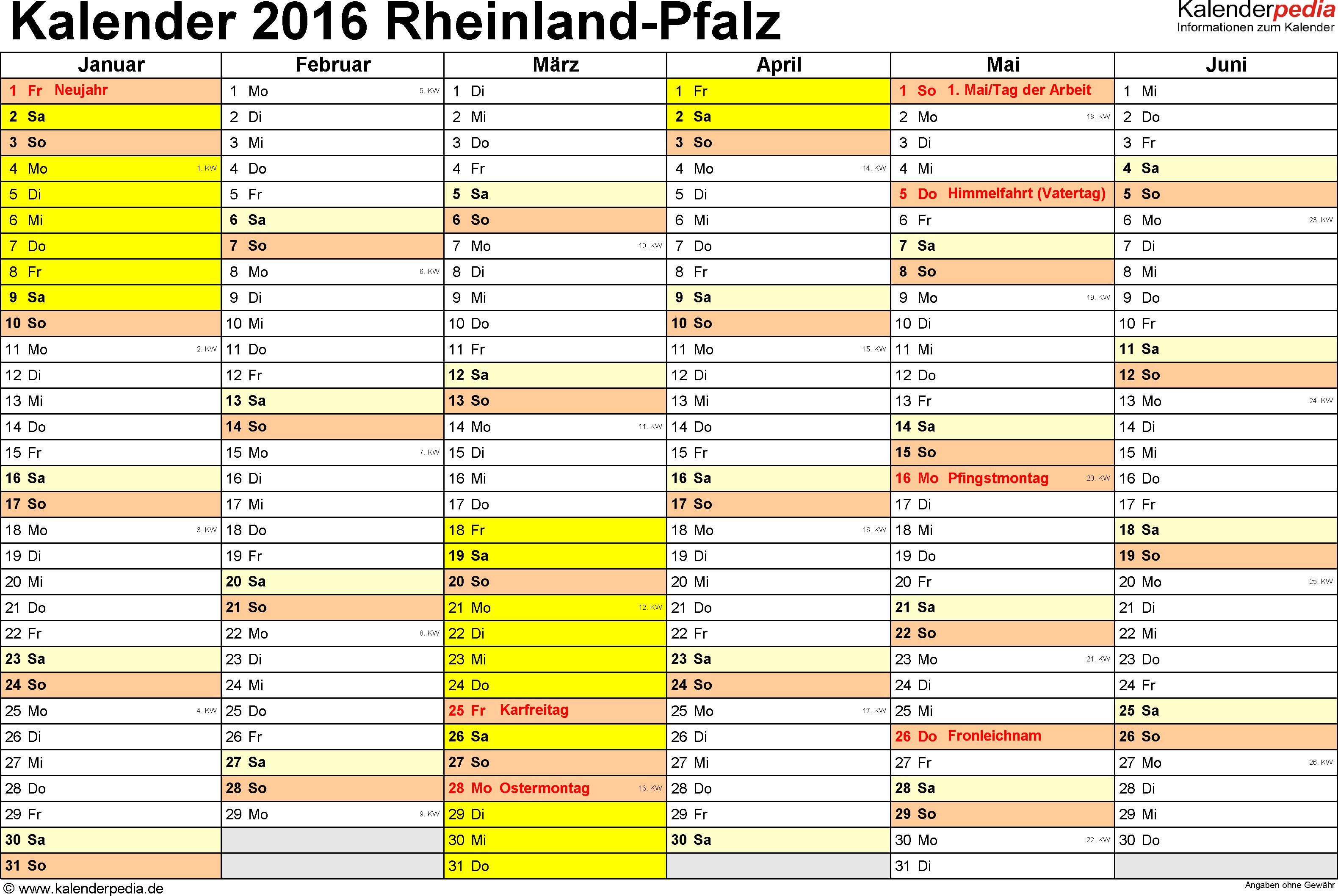 Vorlage 2: Kalender 2016 für Rheinland-Pfalz als Excel-Vorlage (Querformat, 2 Seiten)