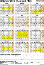 Vorlage 4: Kalender Rheinland-Pfalz 2016 als Excel-Vorlage (Hochformat)