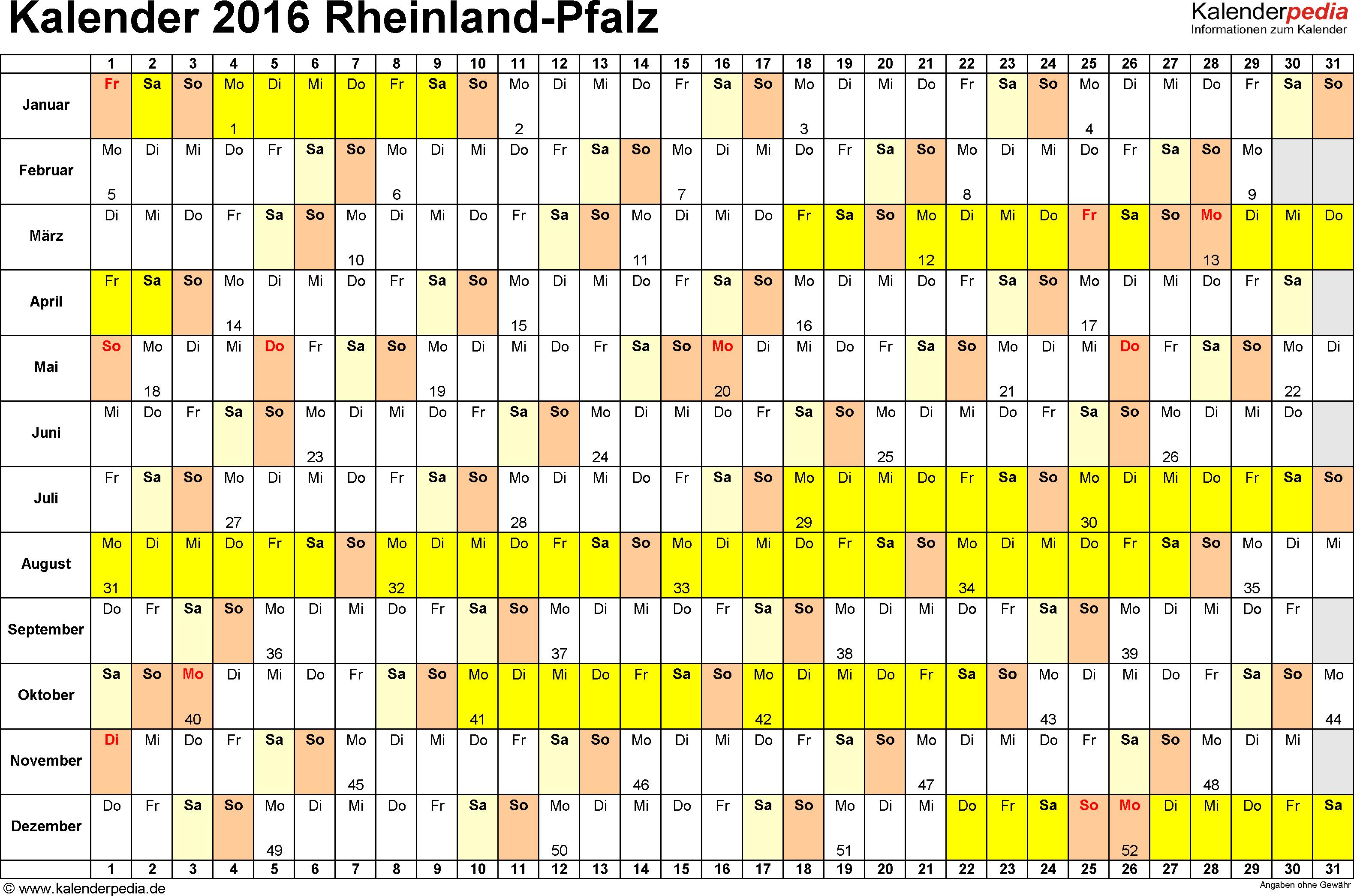 Vorlage 3: Kalender Rheinland-Pfalz 2016 im Querformat, Tage nebeneinander