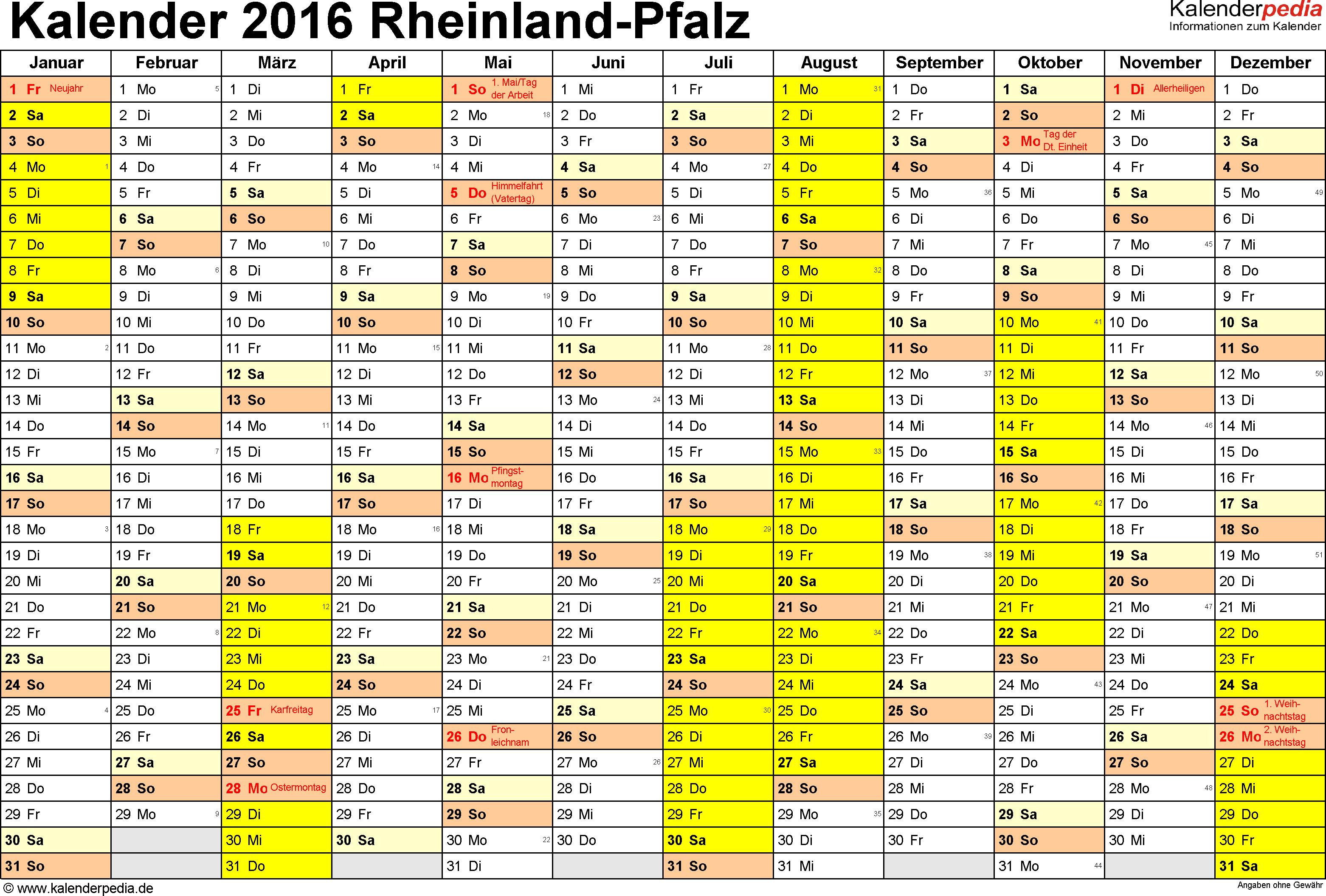 Vorlage 1: Kalender 2016 für Rheinland-Pfalz als Excel-Vorlagen (Querformat, 1 Seite)