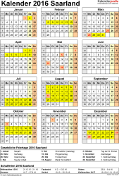 Vorlage 4: Kalender Saarland 2016 als Excel-Vorlage (Hochformat)