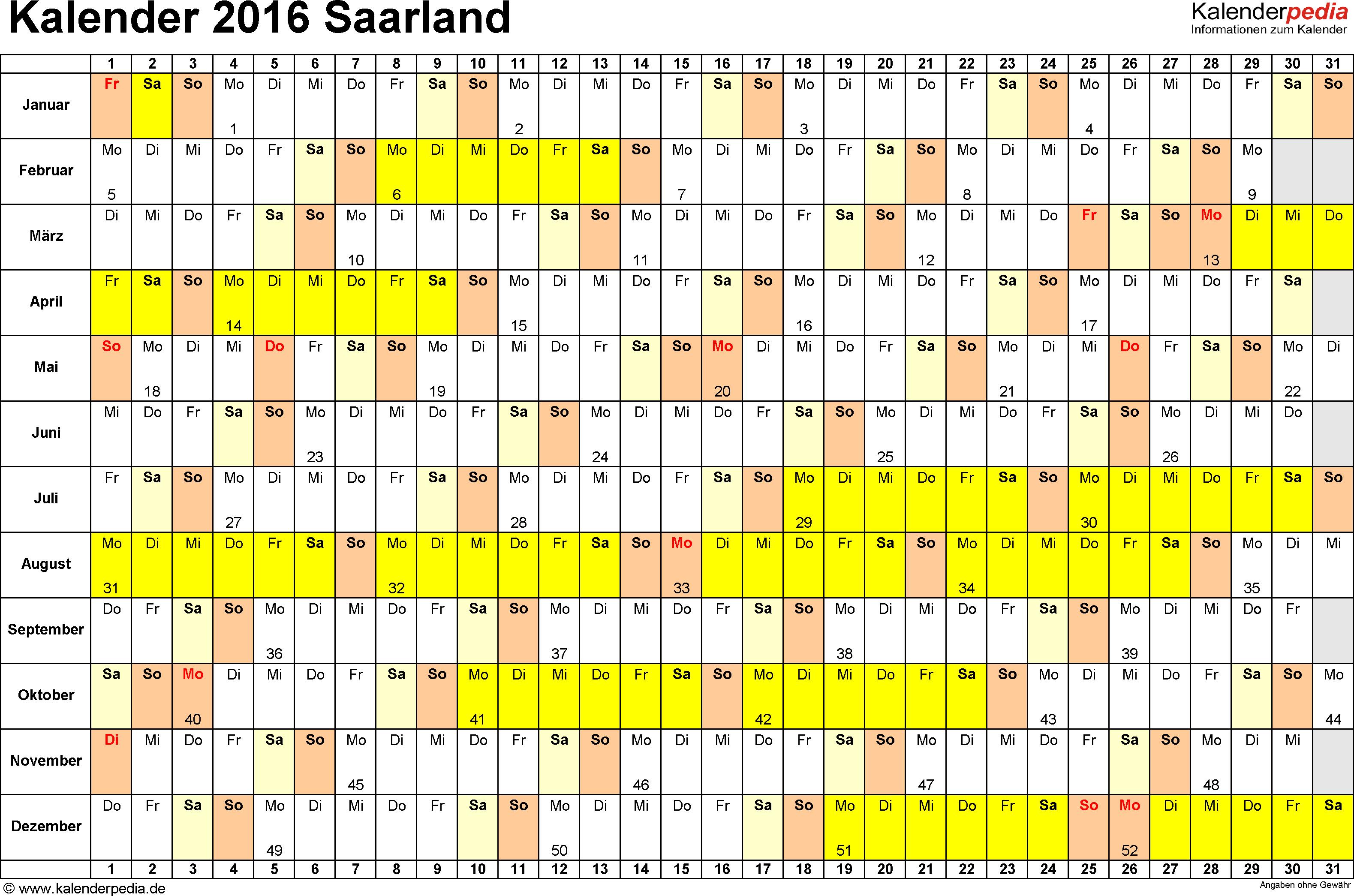 Vorlage 3: Kalender Saarland 2016 im Querformat, Tage nebeneinander