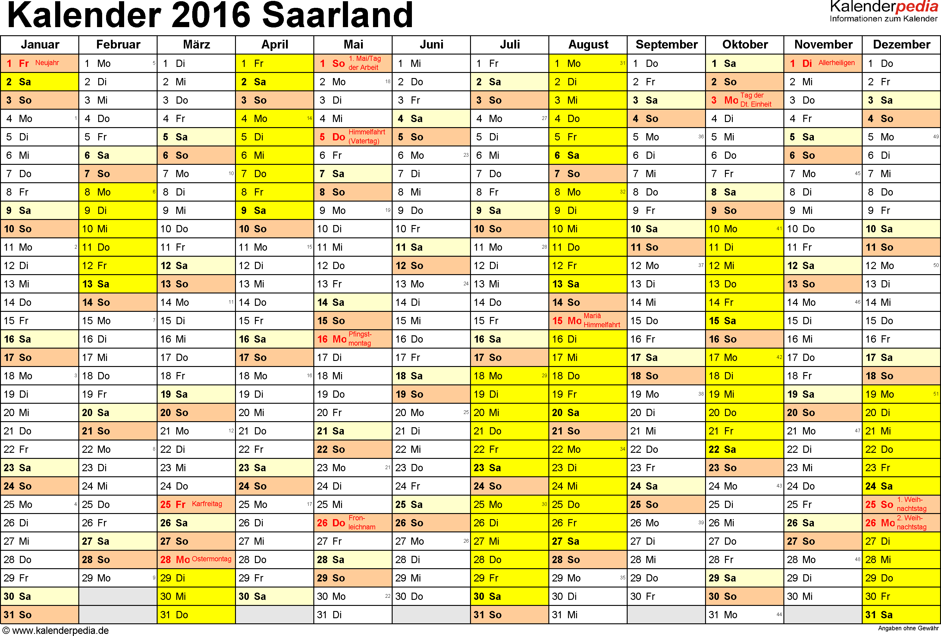 Vorlage 1: Kalender 2016 für Saarland als Excel-Vorlagen (Querformat, 1 Seite)