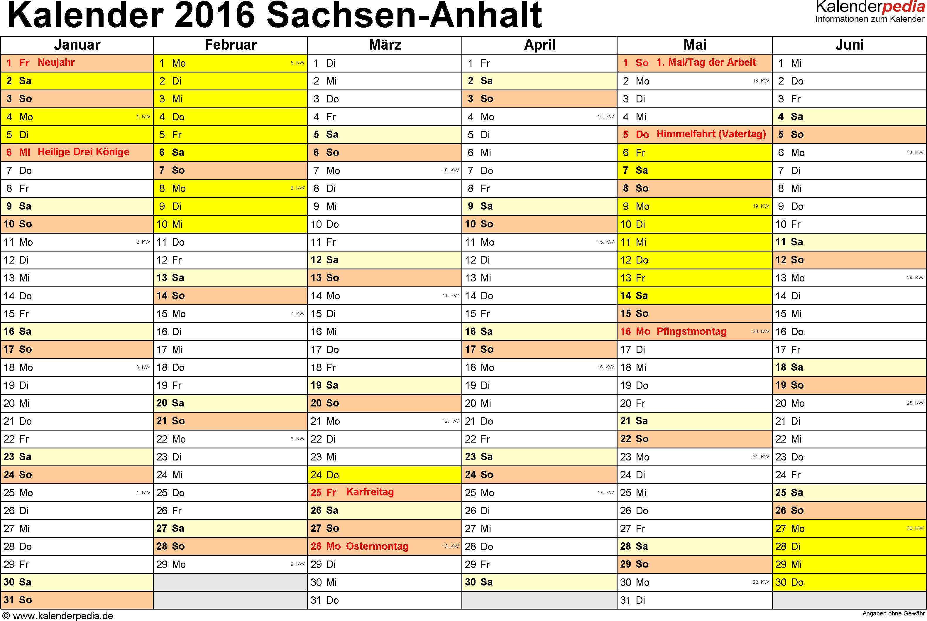 Vorlage 2: Kalender 2016 für Sachsen-Anhalt als Excel-Vorlage (Querformat, 2 Seiten)