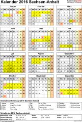 Vorlage 4: Kalender Sachsen-Anhalt 2016 als Excel-Vorlage (Hochformat)