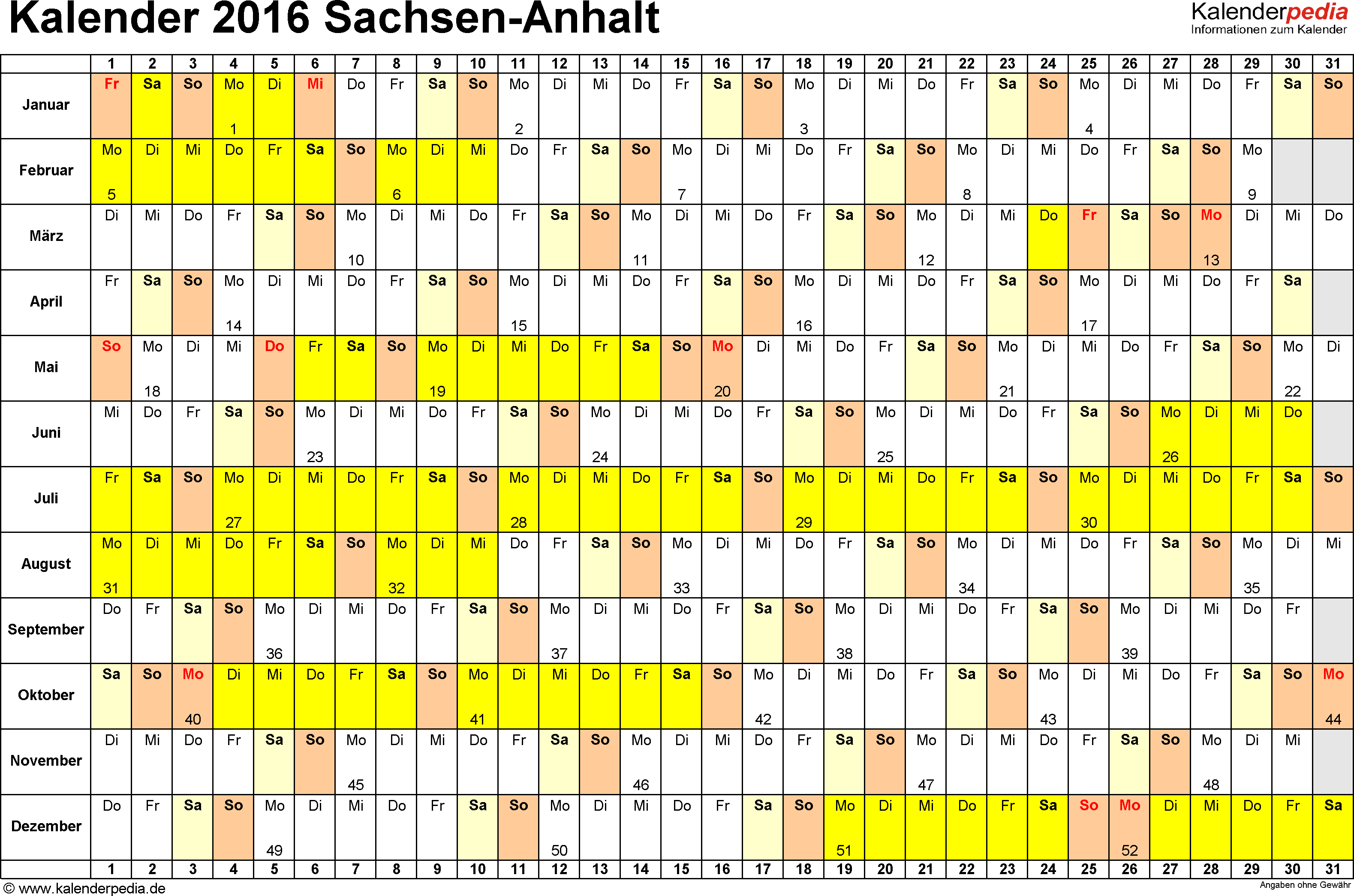 Vorlage 2: Kalender Sachsen-Anhalt 2016 im Querformat, Tage nebeneinander