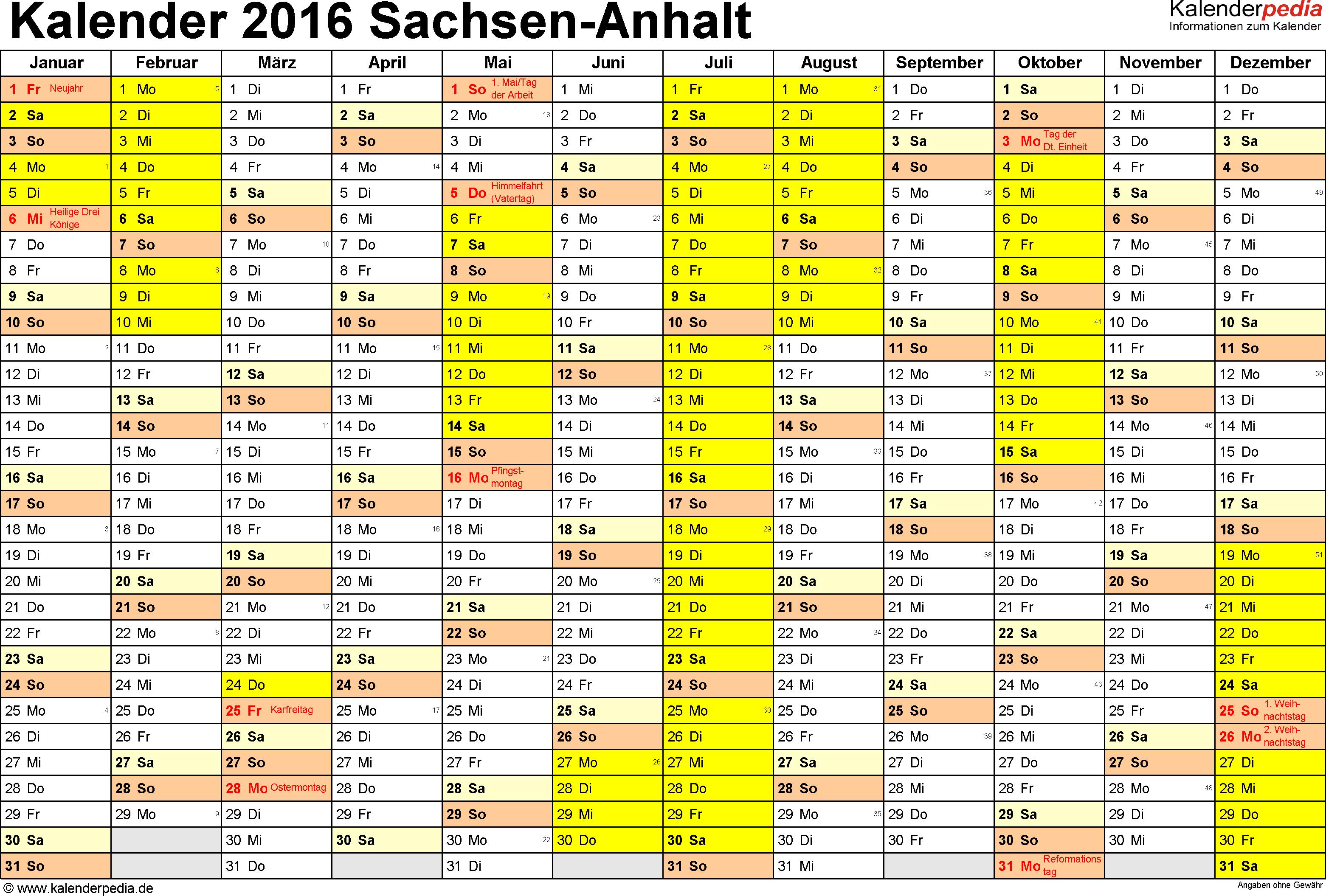 Vorlage 1: Kalender 2016 für Sachsen-Anhalt als Excel-Vorlage (Querformat, 1 Seite)