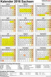 Vorlage 4: Kalender Sachsen 2016 als Excel-Vorlage (Hochformat)