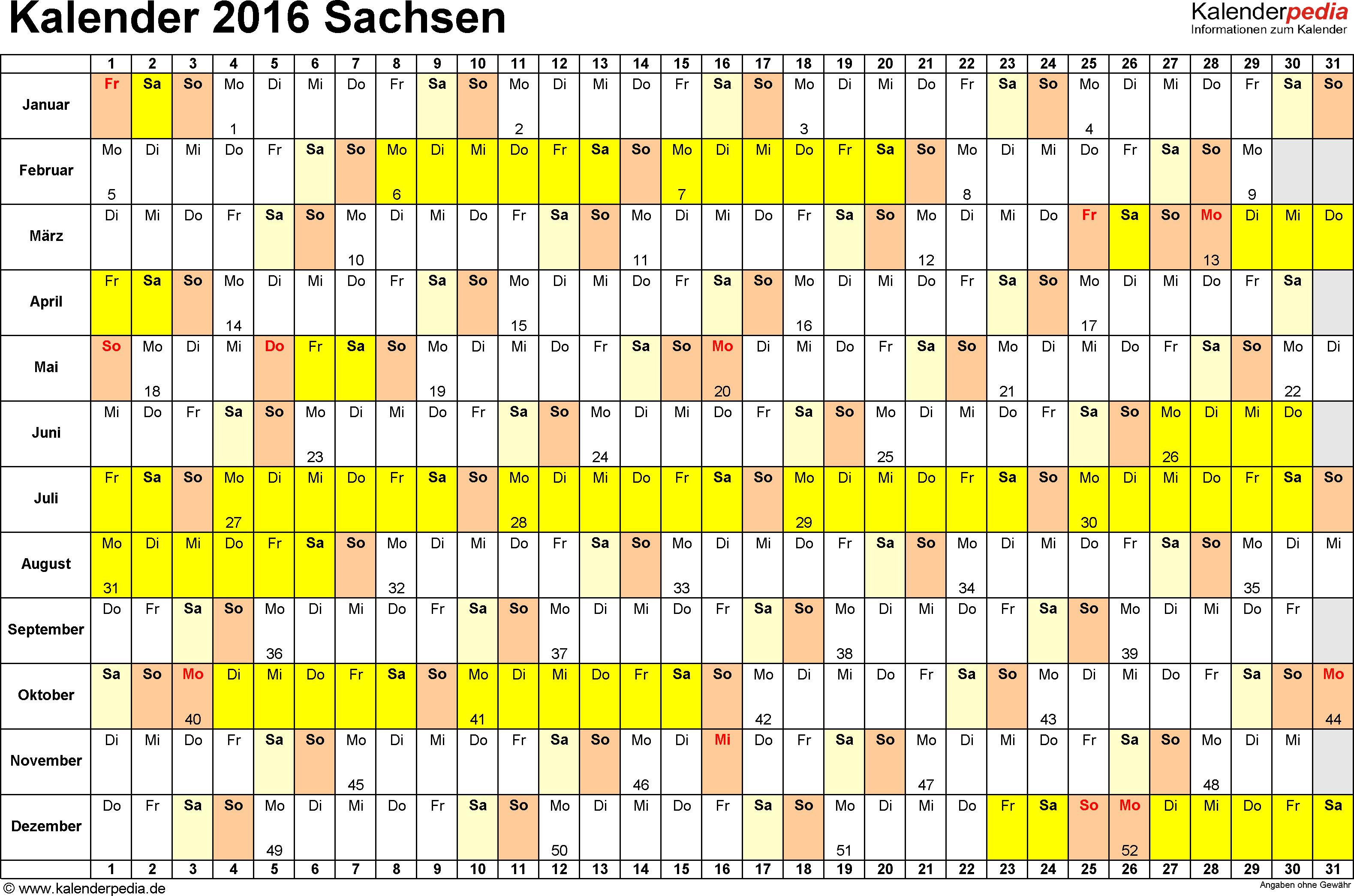 Vorlage 3: Kalender Sachsen 2016 im Querformat, Tage nebeneinander