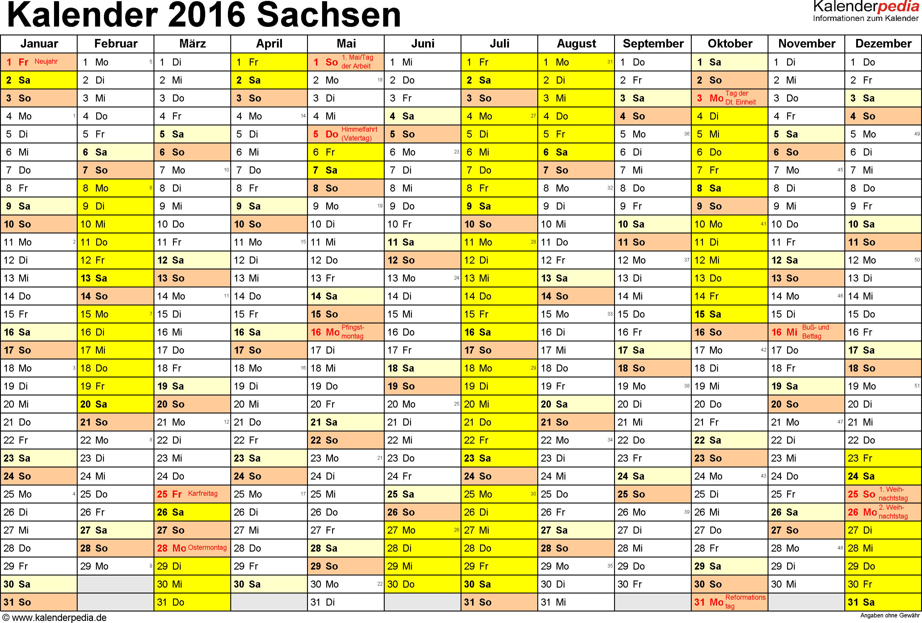 Vorlage 1: Kalender 2016 für Sachsen als PDF-Vorlage (Querformat, 1 Seite)
