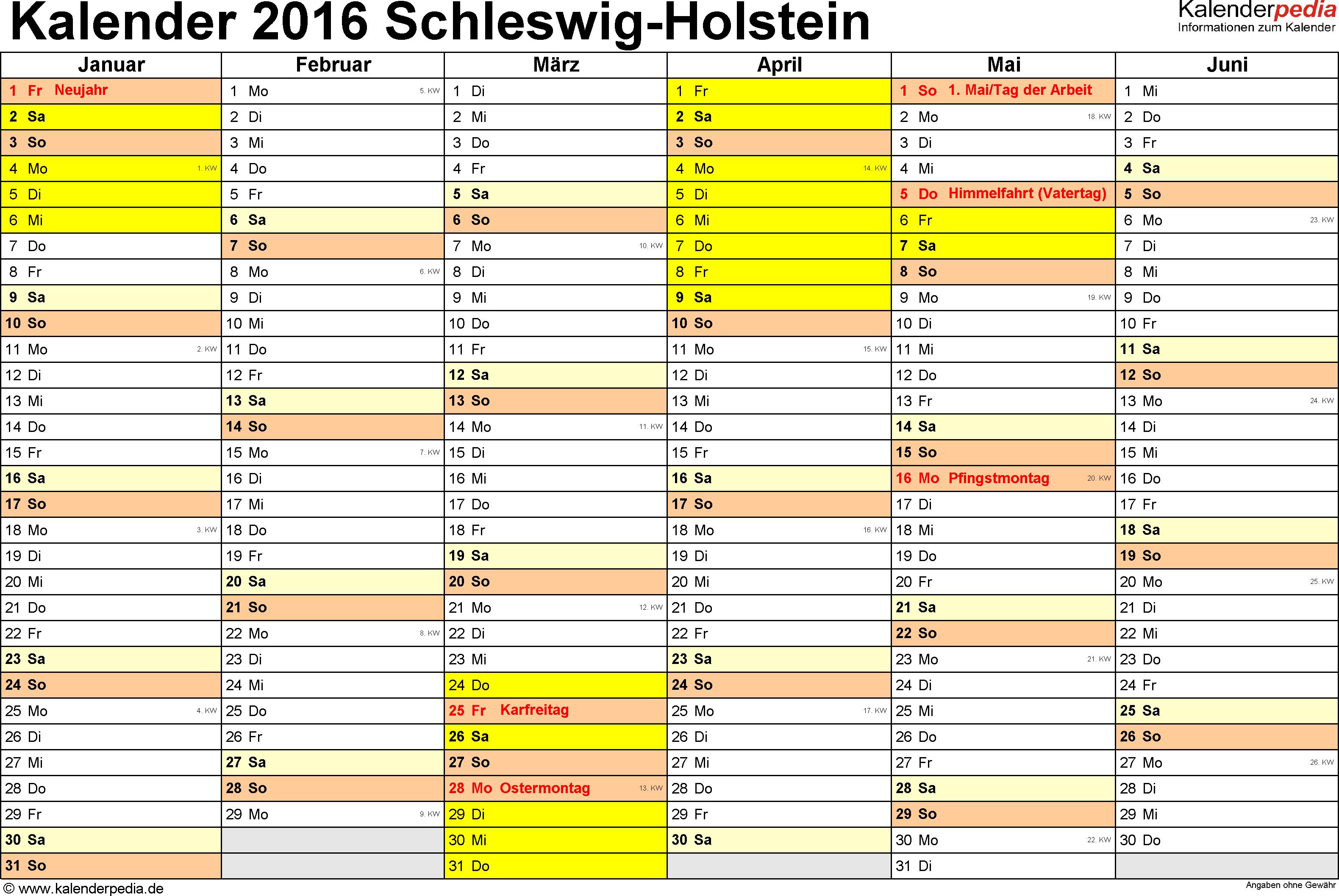 Vorlage 2: Kalender 2016 für Schleswig-Holstein als Excel-Vorlage (Querformat, 2 Seiten)
