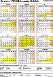 Vorlage 4: Kalender Schleswig-Holstein 2016 als Excel-Vorlage (Hochformat)