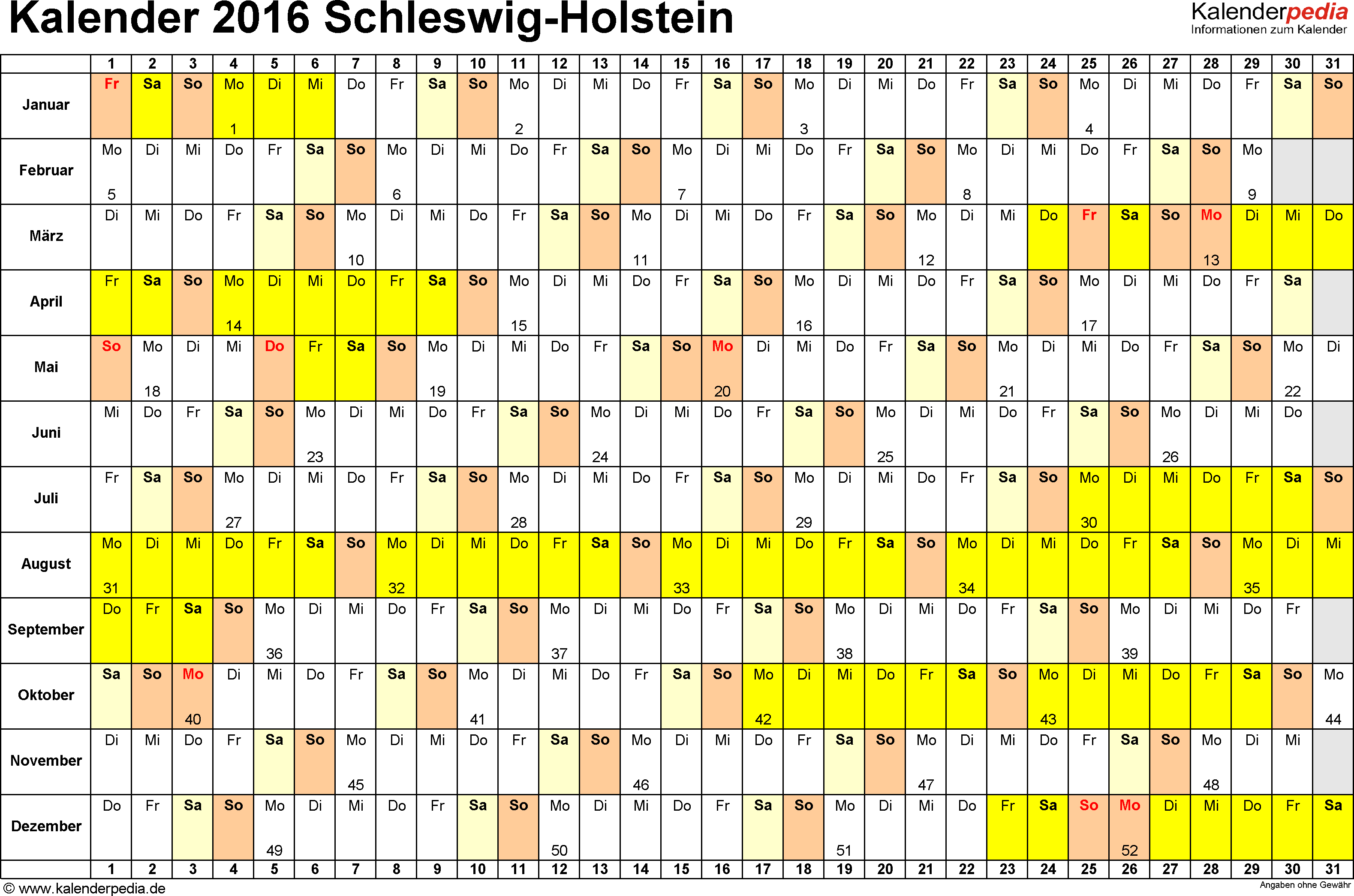 Vorlage 2: Kalender Schleswig-Holstein 2016 im Querformat, Tage nebeneinander