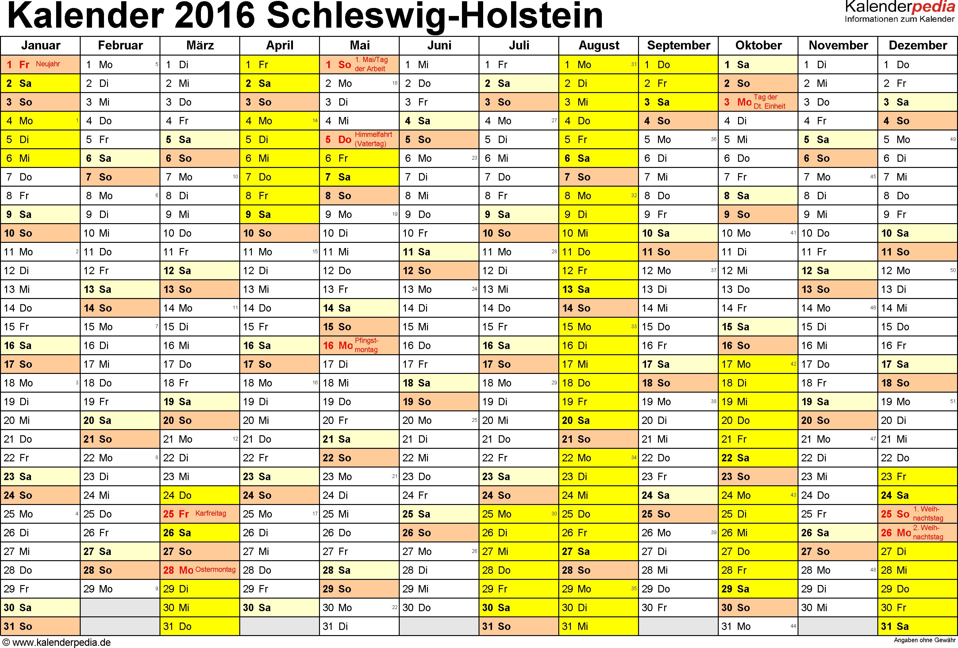 Vorlage 1: Kalender 2016 für Schleswig-Holstein als Excel-Vorlage (Querformat, 1 Seite)